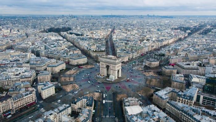 Vista aérea del Arco del Triunfo