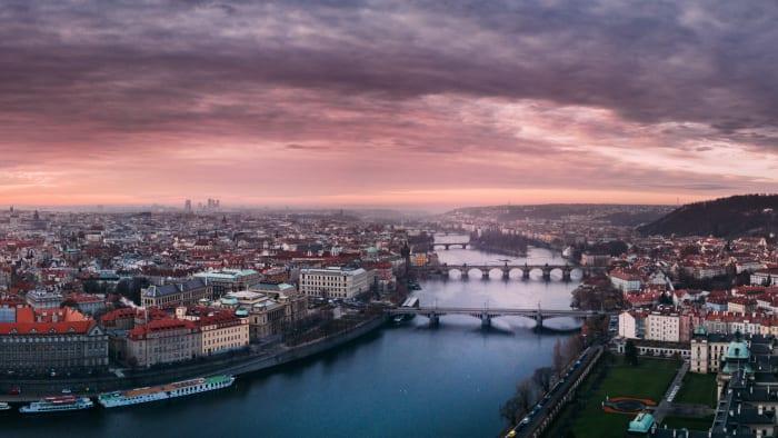 Pôr do sol em Praga