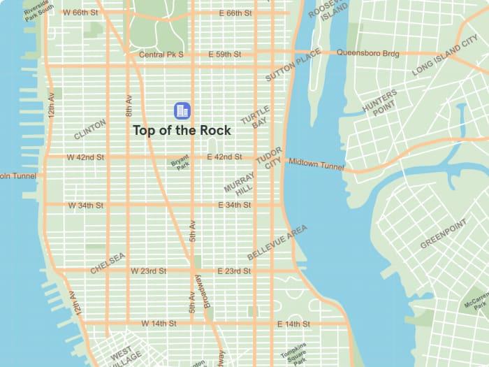 Ubicación del Top of the Rock en el mapa de Manhattan