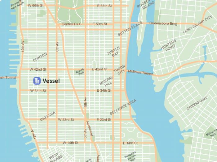 Ubicación de The Vessel en el mapa de Manhattan | ©Malvina Battiston