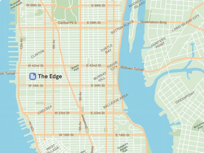 Ubicación de The Edge en Manhattan