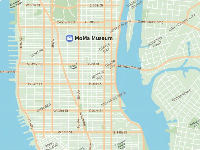 Ubicación del MoMa en el mapa de Nueva York