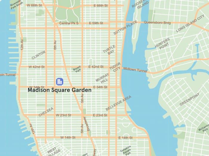 Mapa de Manhattan con la ubicación del Madison Square Garden en Midtown