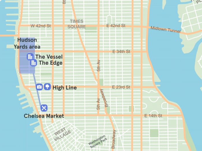 Mapa de Hudson Yards dentro de Manhattan