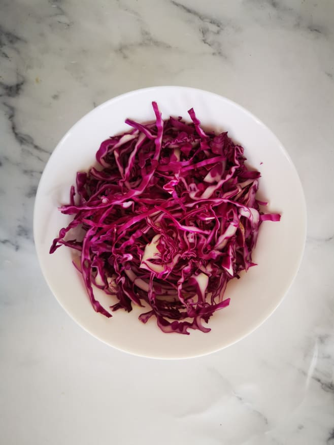 Shred cabbage