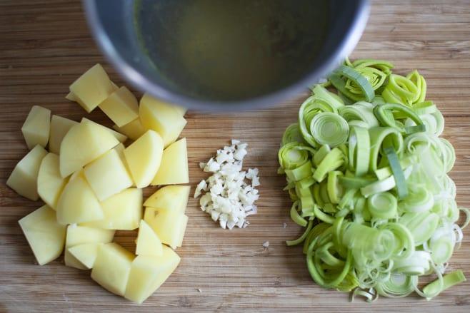 Prep leeks and potatoes