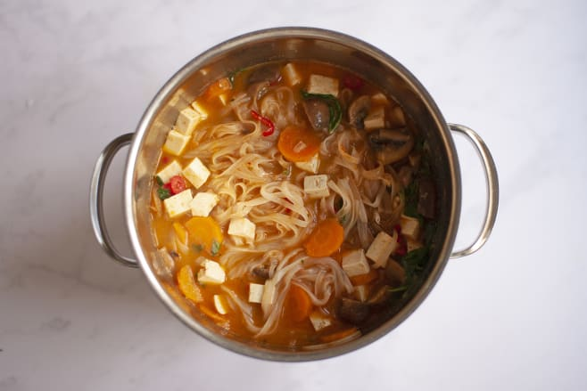 Add tofu and noodles