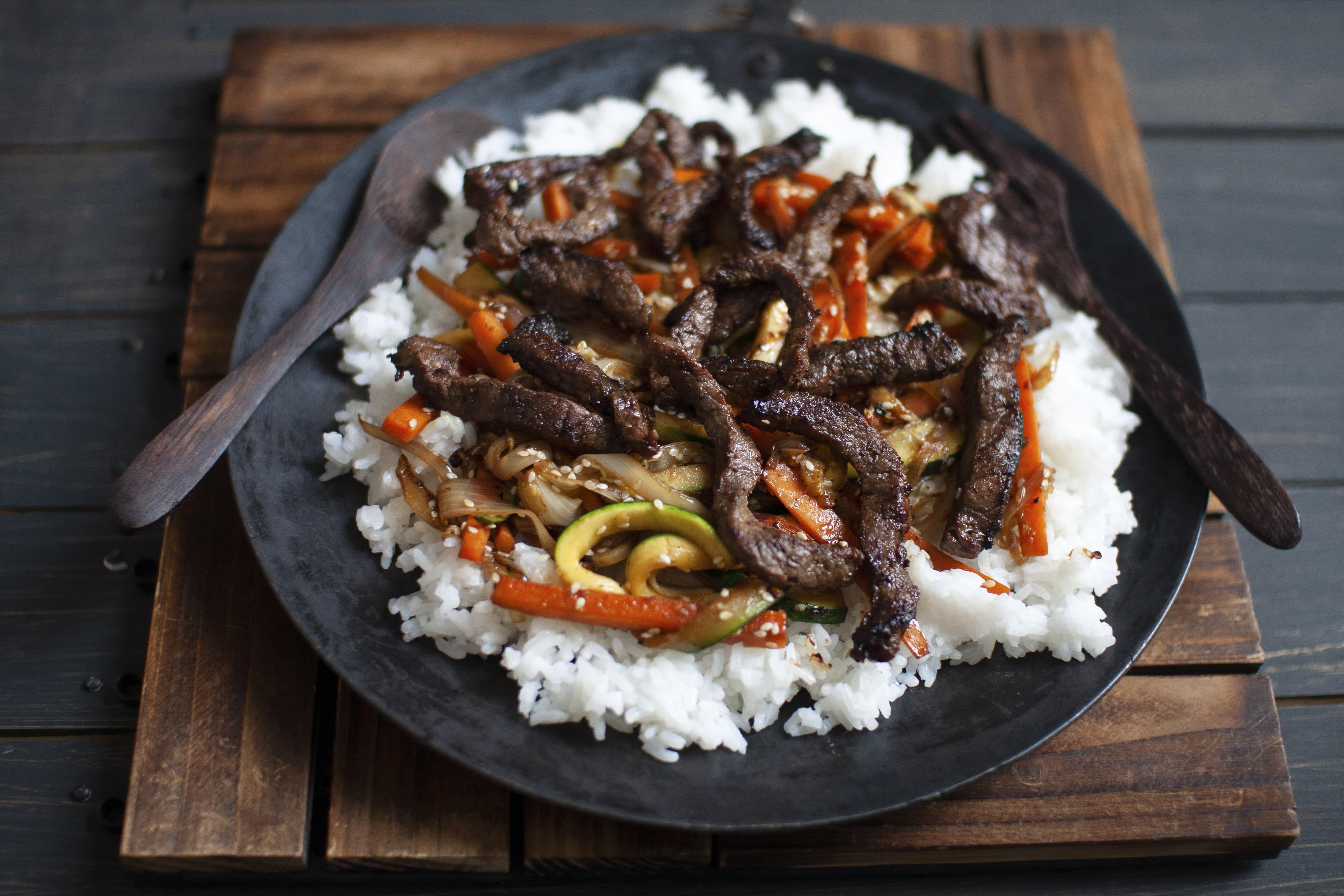 Korean Beef Bulgogi with Shiitake Mushrooms and Jasmine Rice