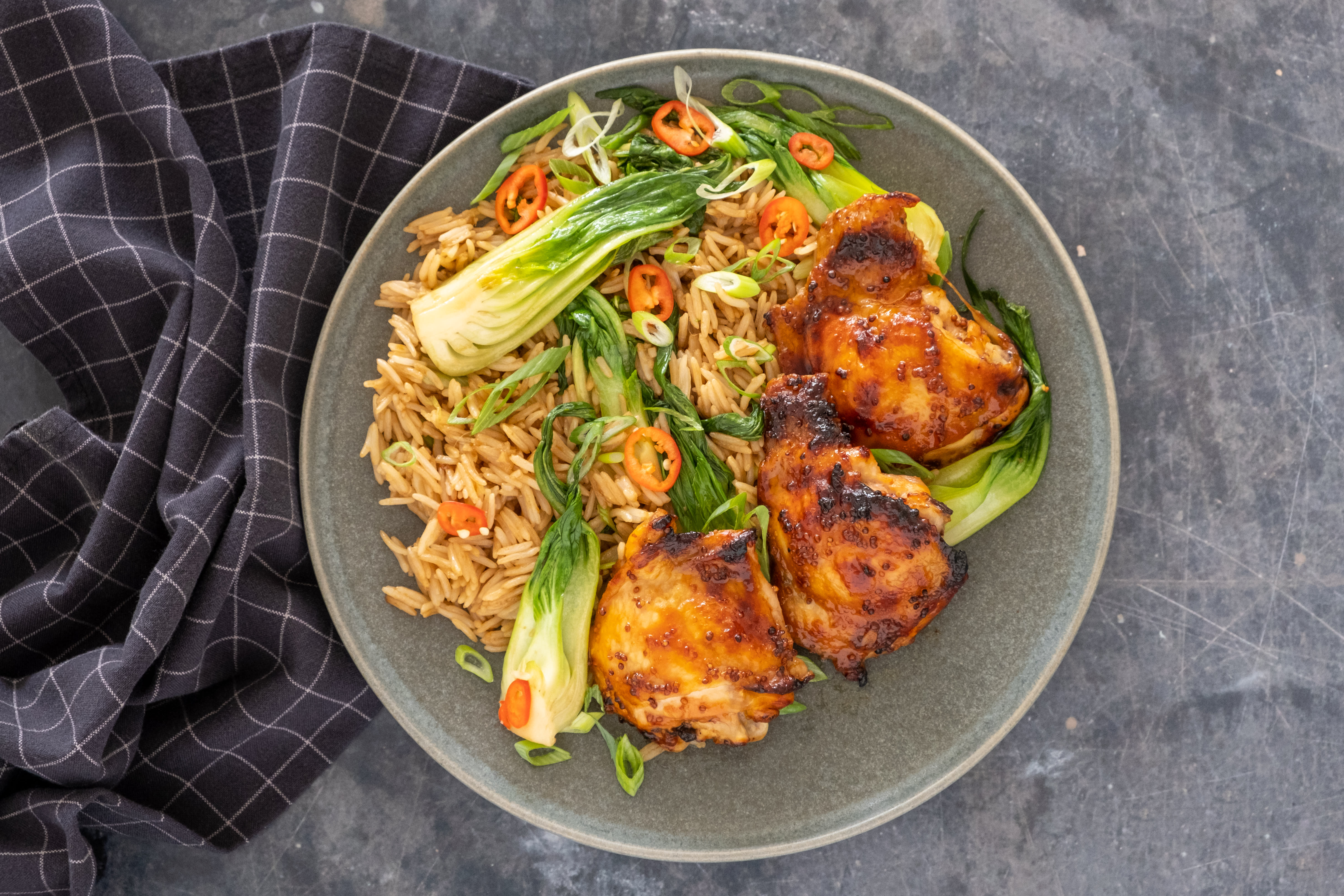 Sticky Chicken and Green Rice with Pak Choi