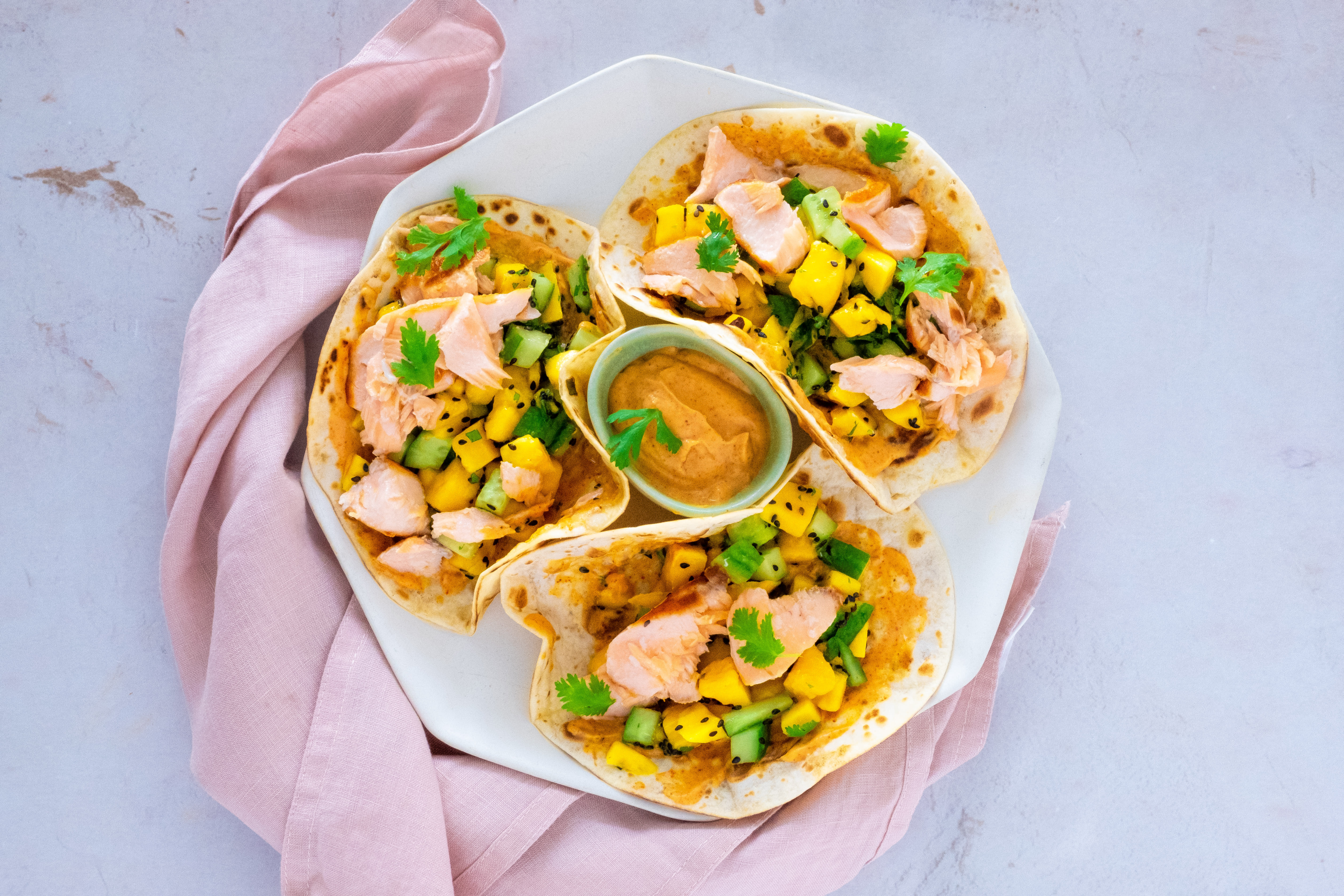 Salmon Tacos with Mango Salsa and Chipotle Cream