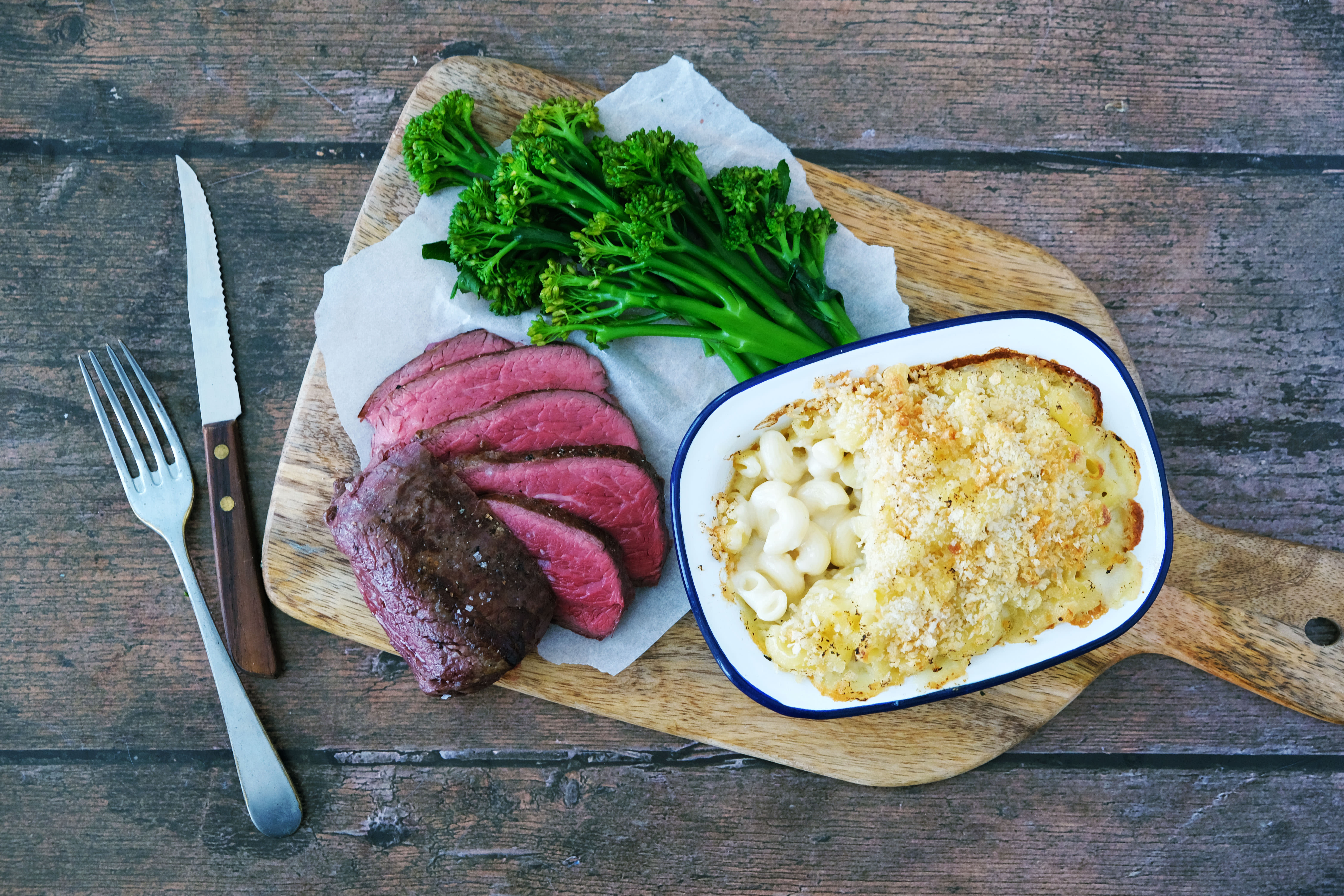 Fillet Steak with 3 Cheese Truffle Macaroni Bake and Tenderstem Broccoli