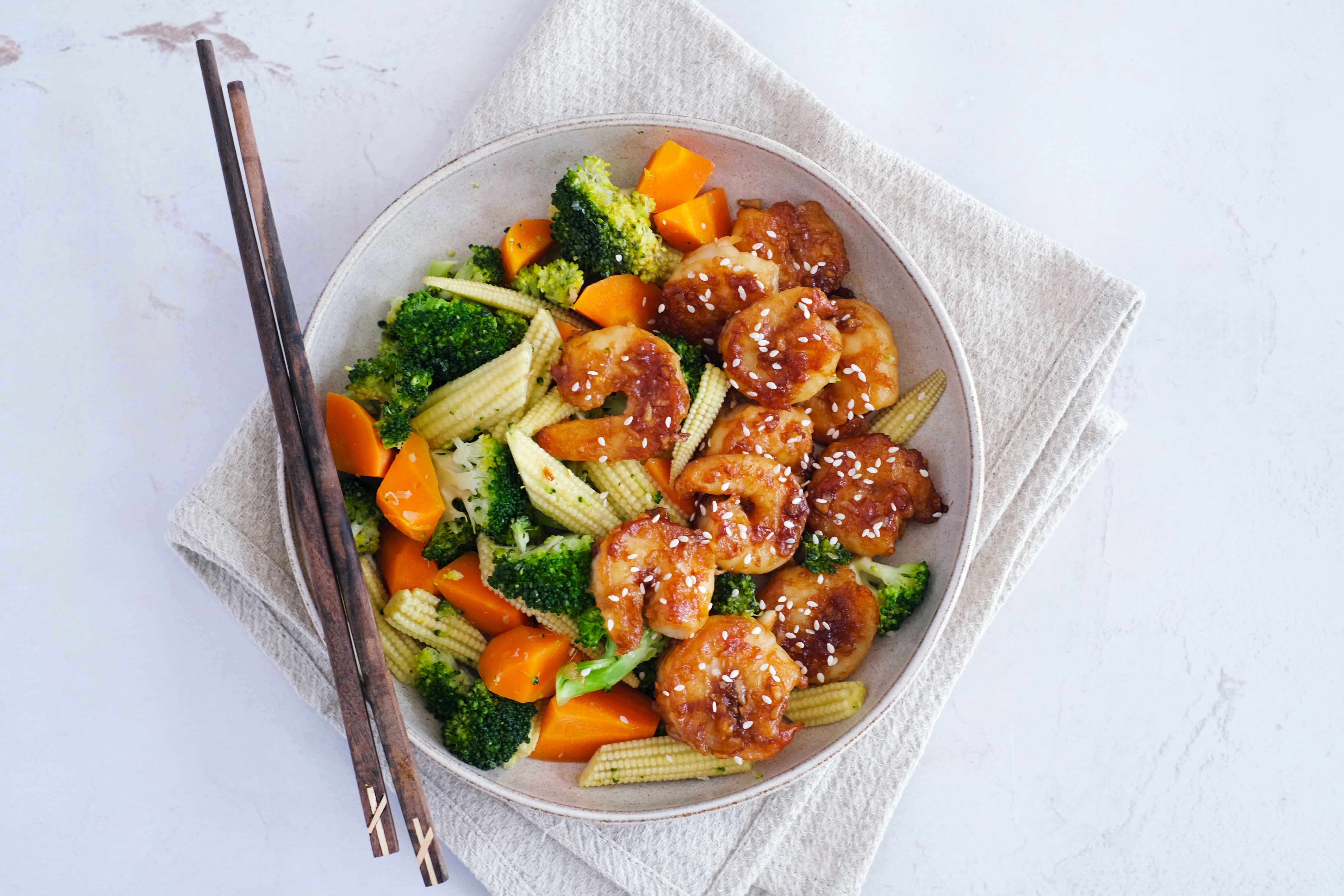 Garlicky Jumbo Prawns with Stir-fried Vegetables