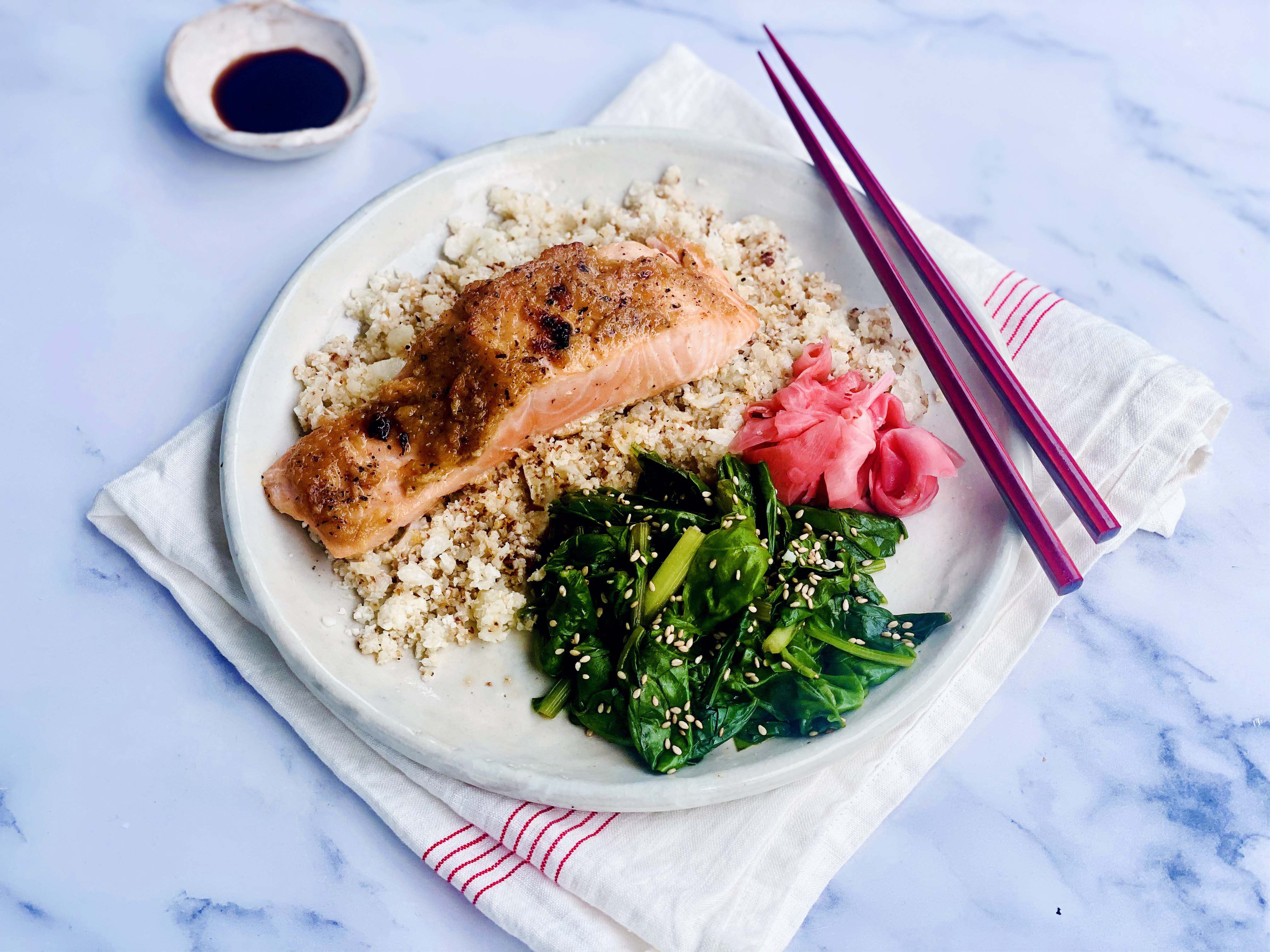 Miso Salmon with Cauliflower Rice and Sesame Spinach