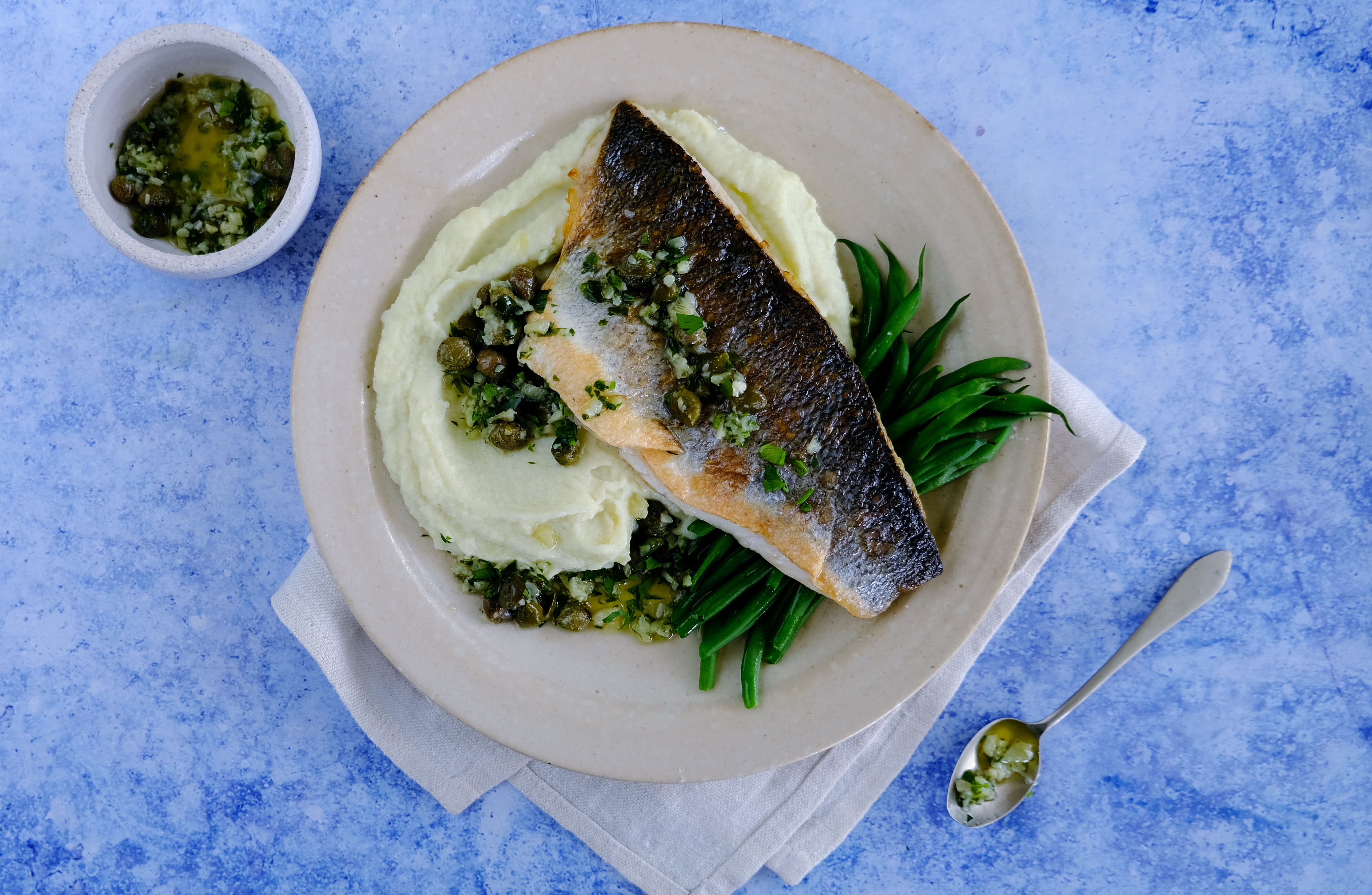 Seabass and Cauliflower Puree with Green Beans and Garlic Butter
