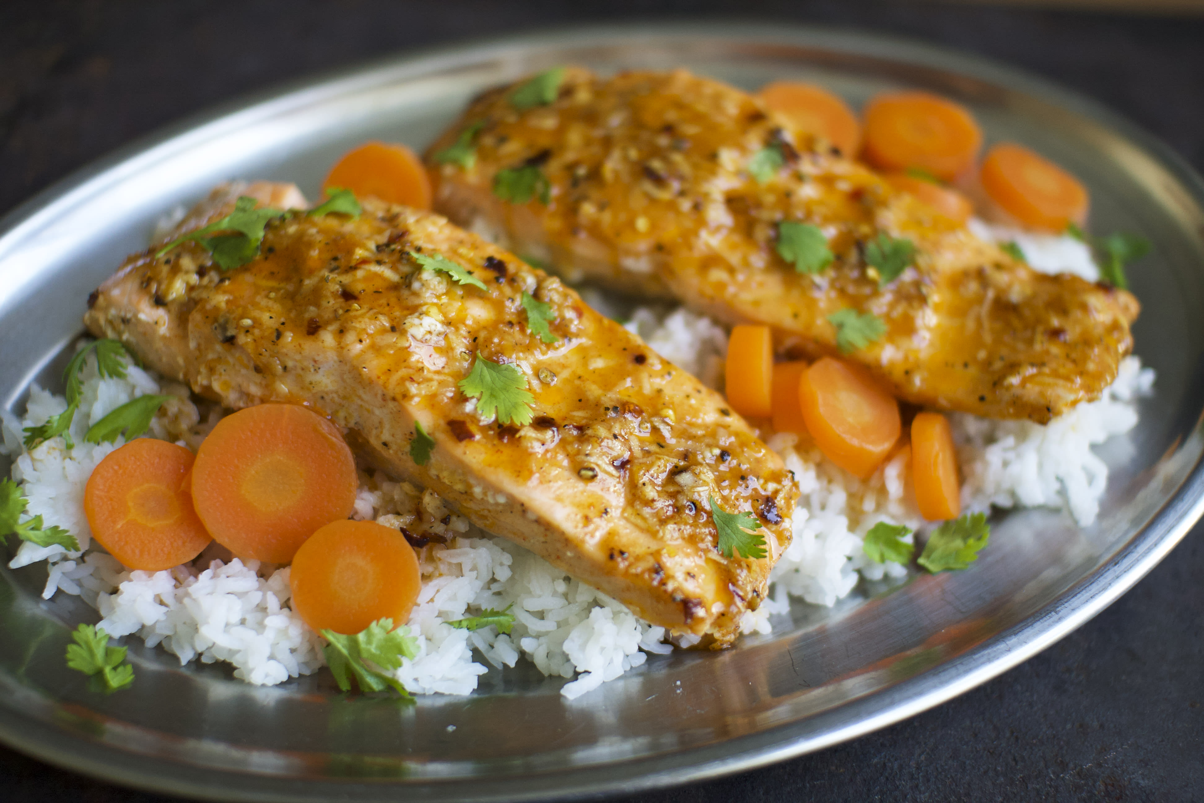 Baked Honey and Garlic Salmon with Carrots and Rice