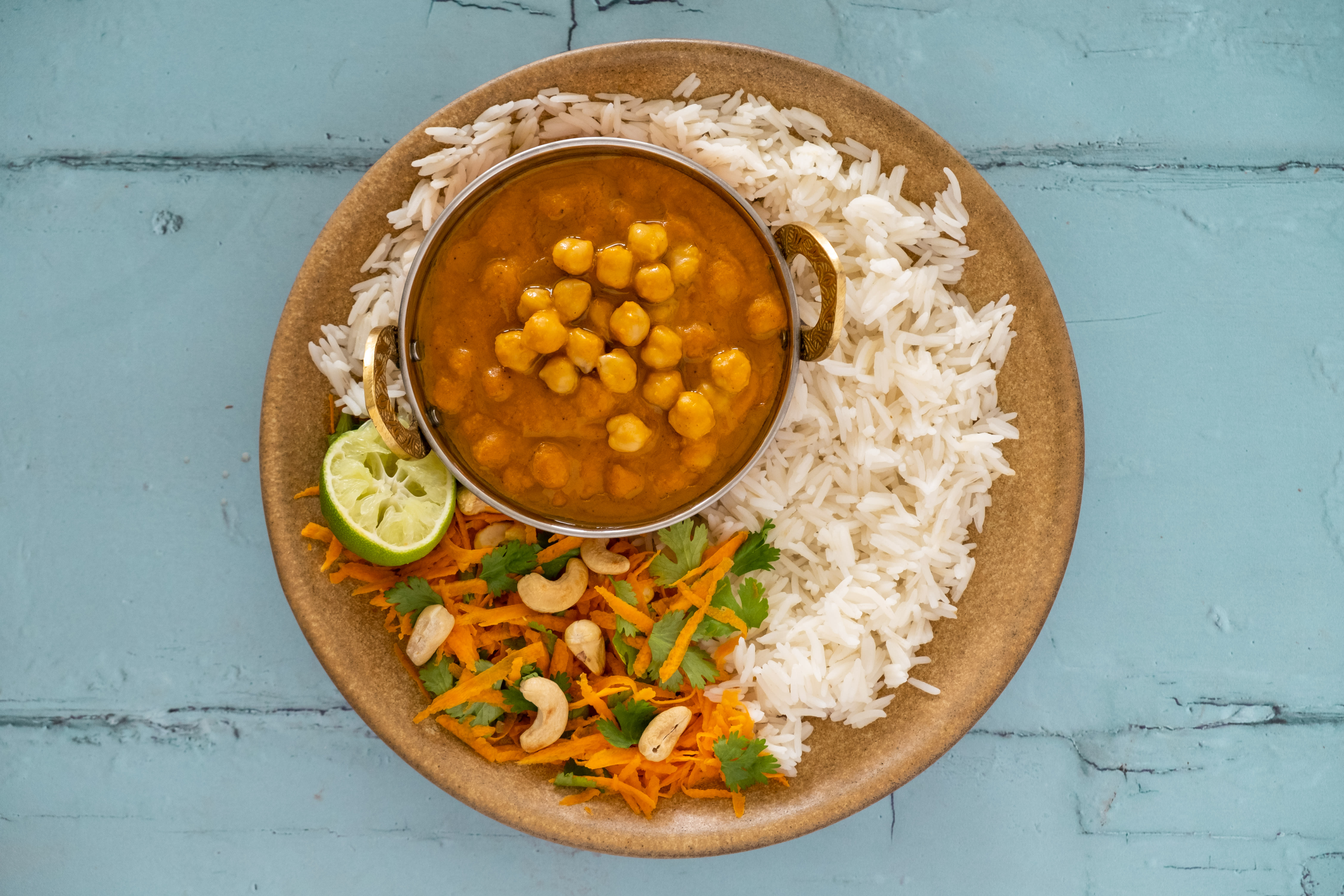 Vegan Butter Chickpea Curry with Carrot and Cashew Salad