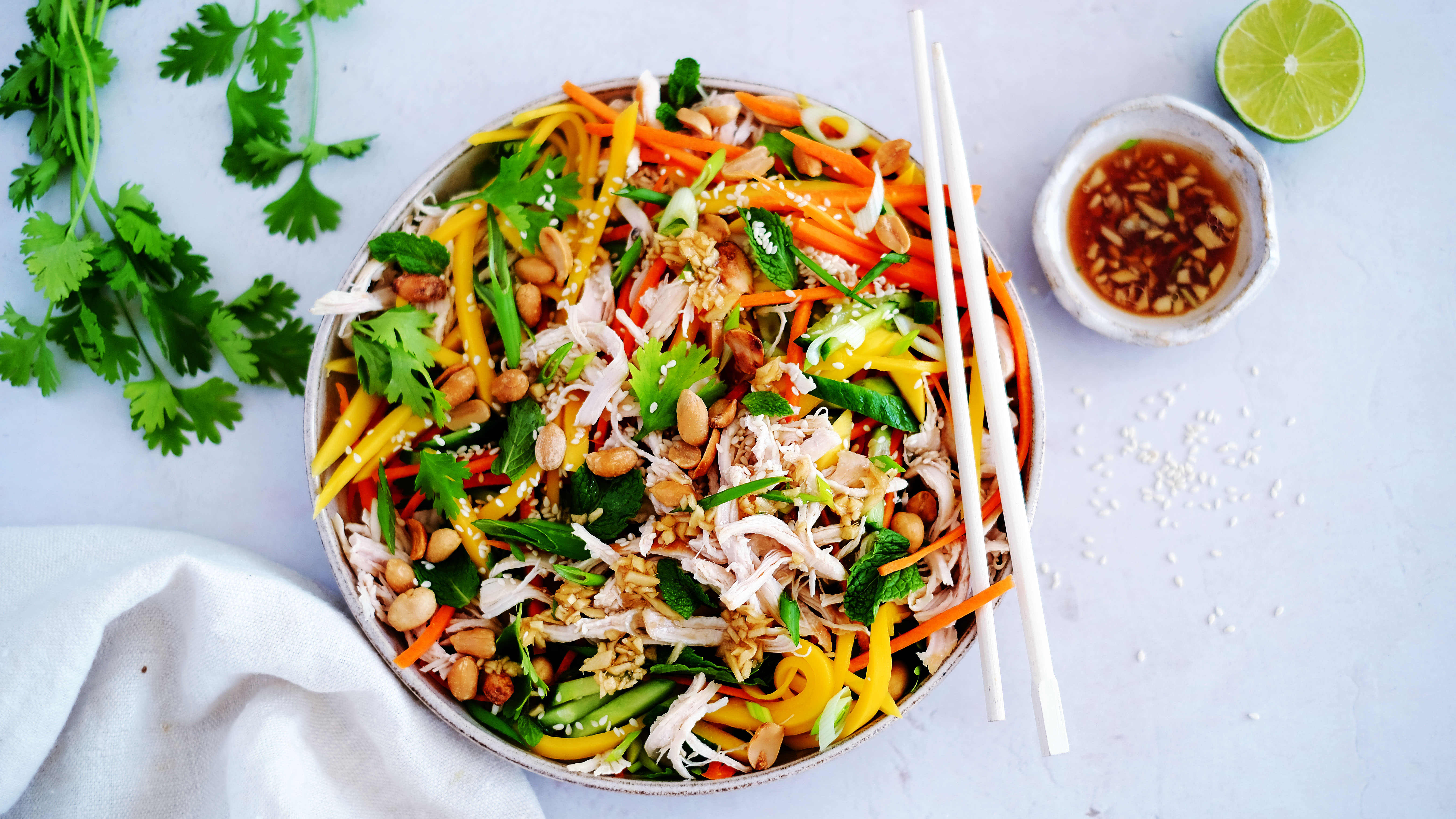 Shredded Chicken and Mango Salad with Ginger Dressing