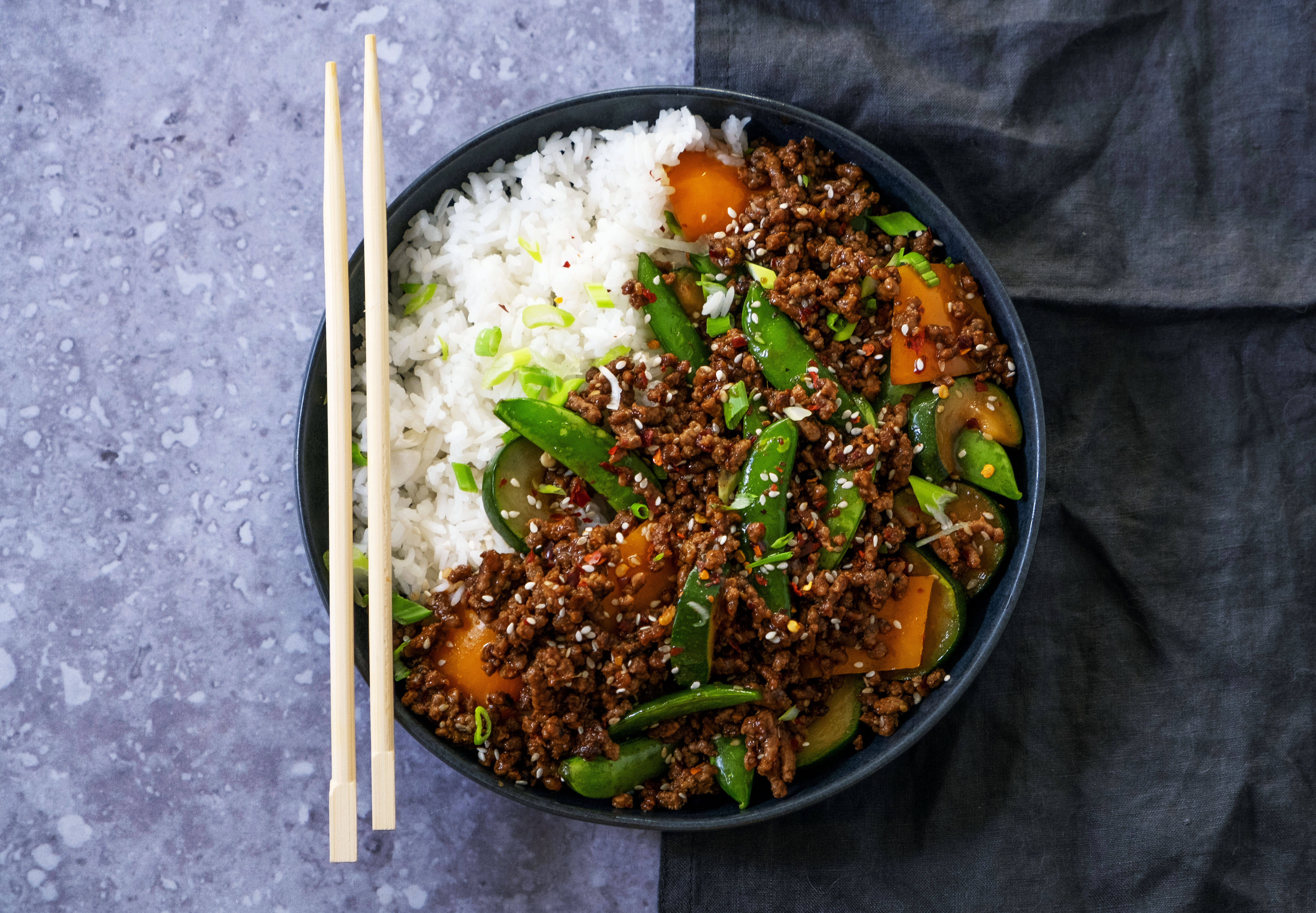 Crunchy Korean Beef Mince and Veggie Stir Fry with Jasmine Rice