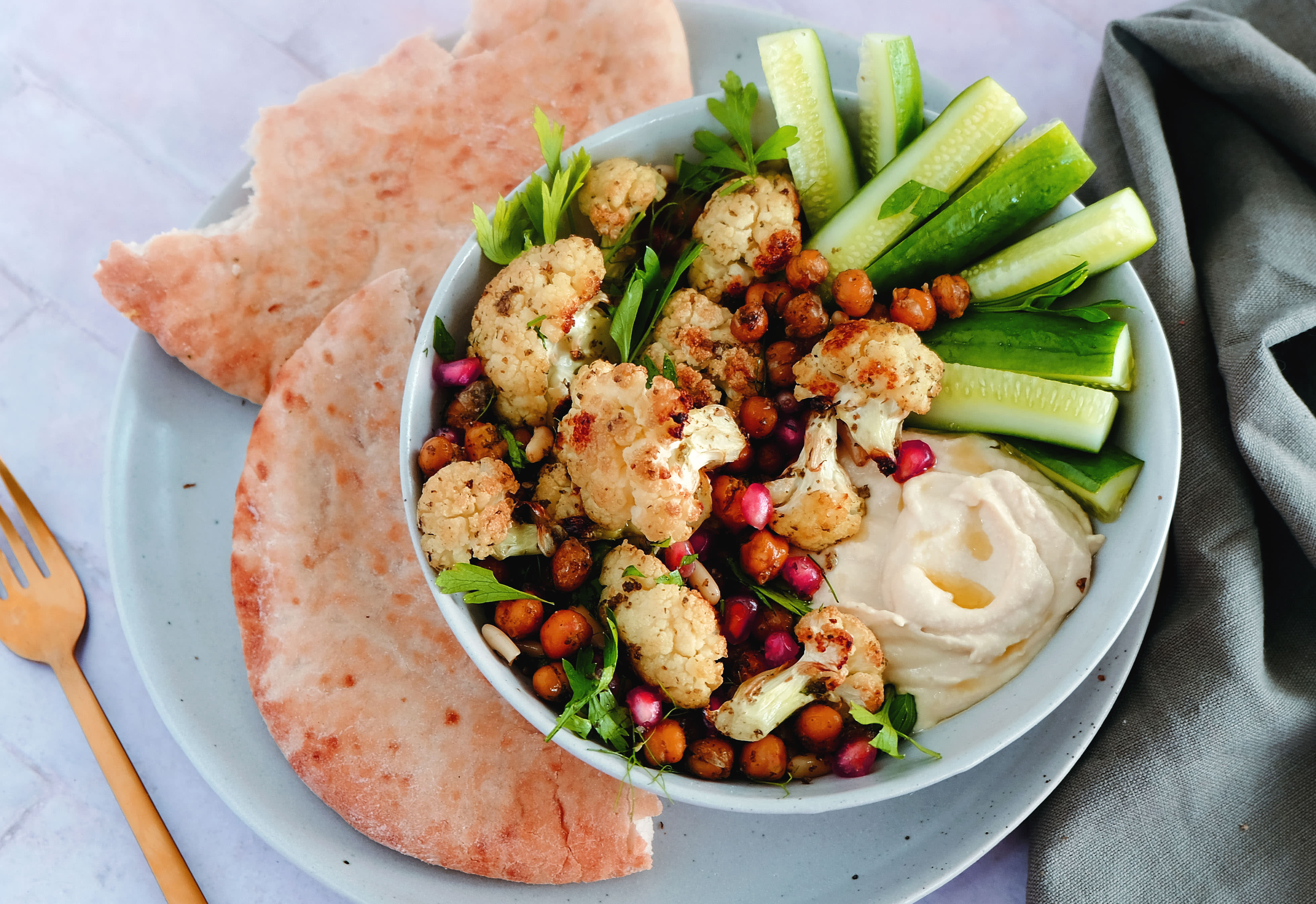 Zaatar Roasted Cauliflower and Chickpeas with Hummus and Pitta