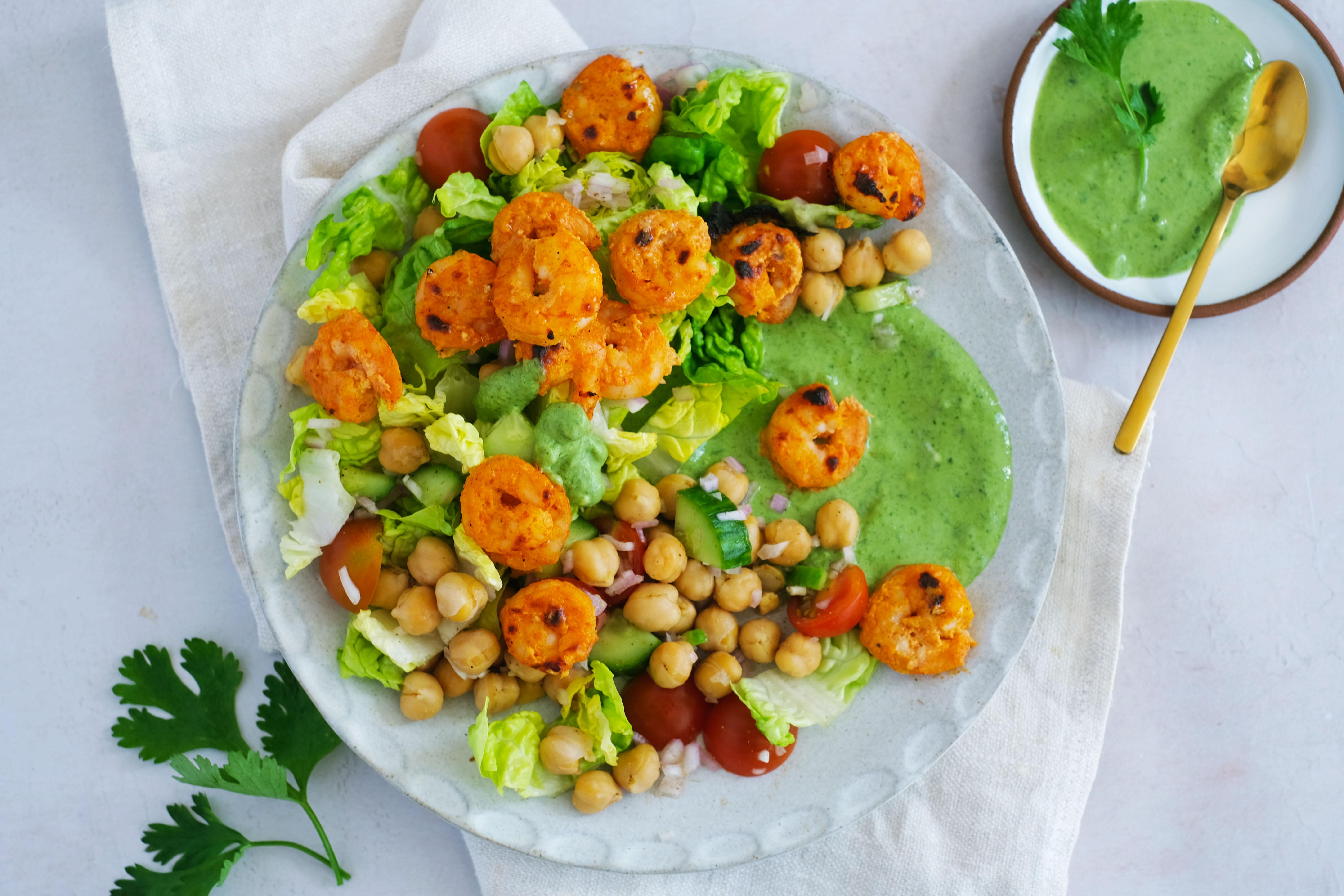 Tandoori Prawns with Chickpea Salad and Mint Yogurt