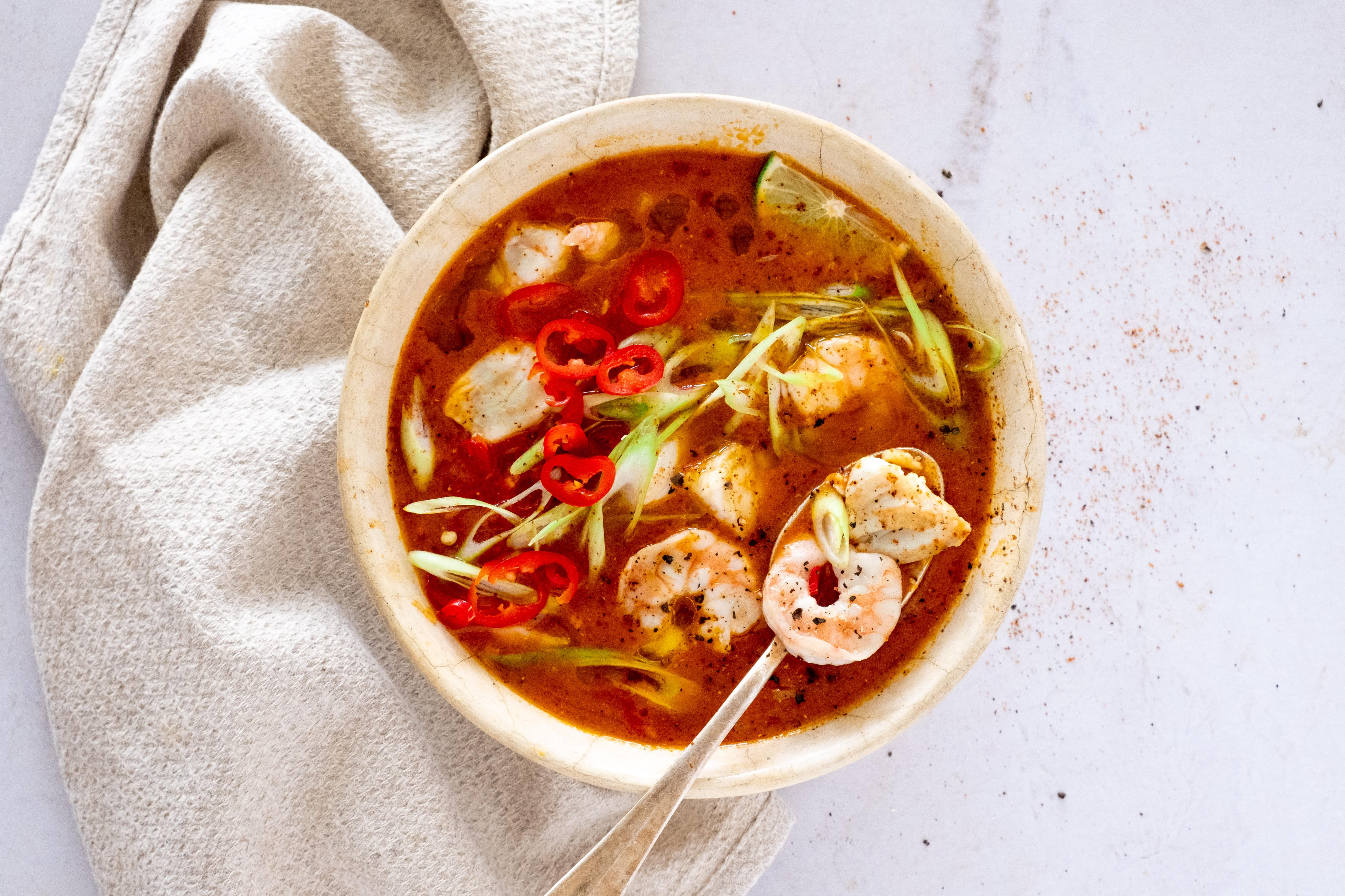 Brazilian Moqueca Soup with Cod and Prawns