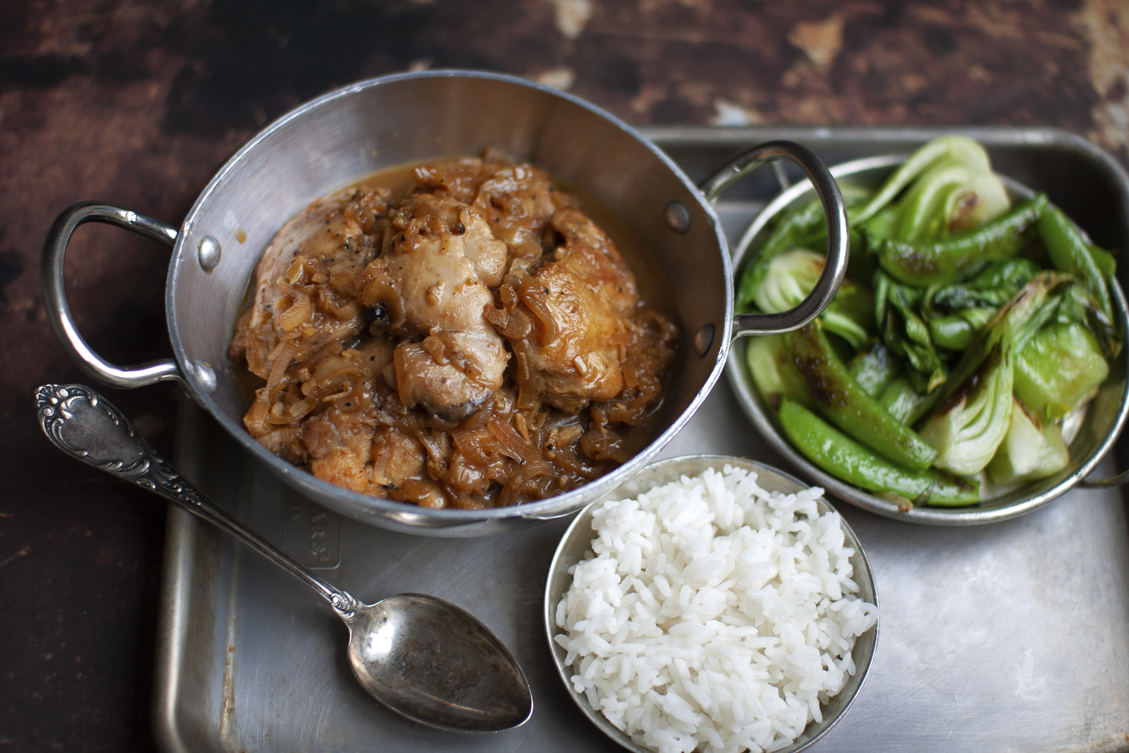 Adobo Chicken Thighs with Rice and Greens
