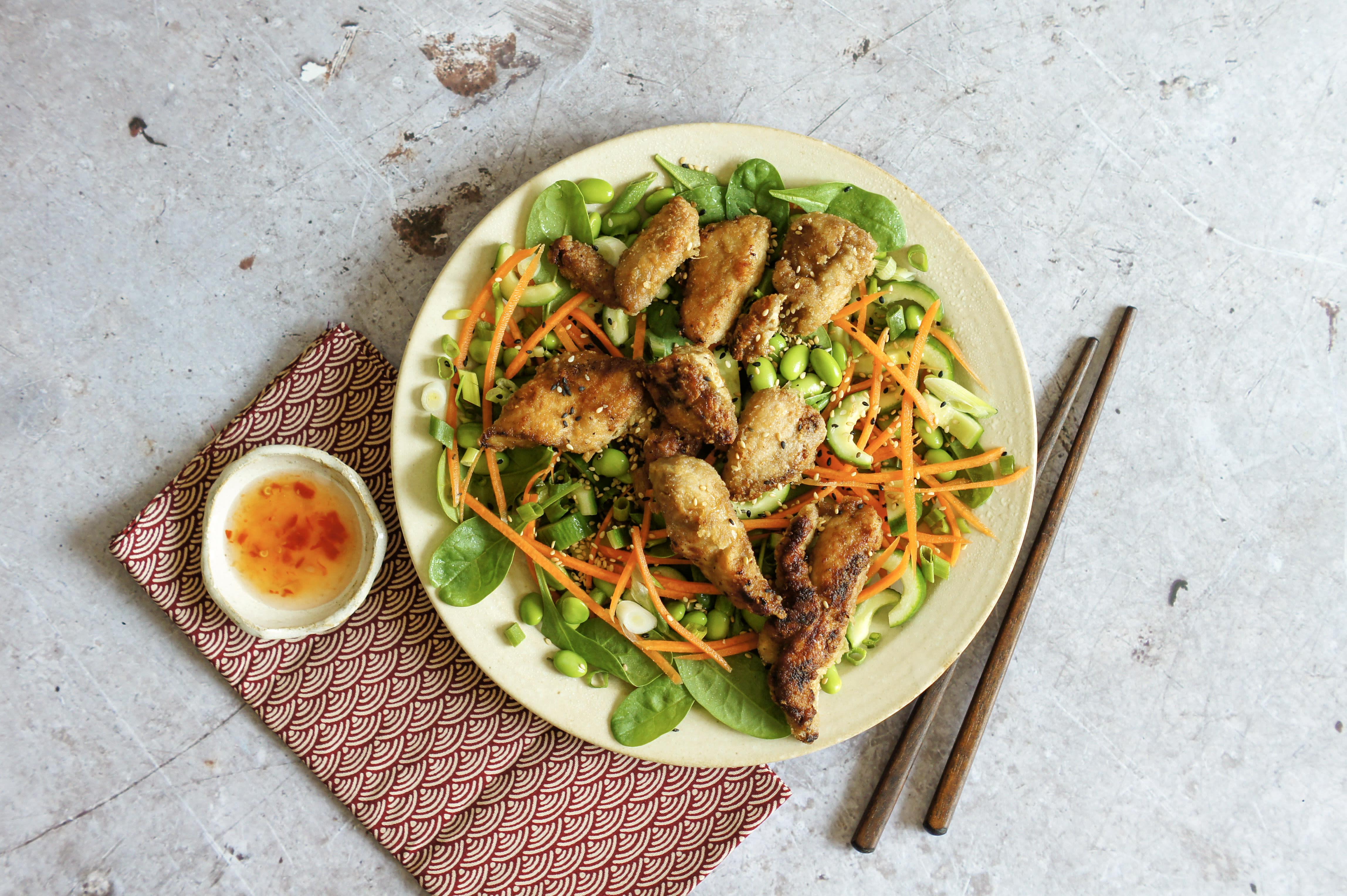 Chicken Karaage Salad with Edamame