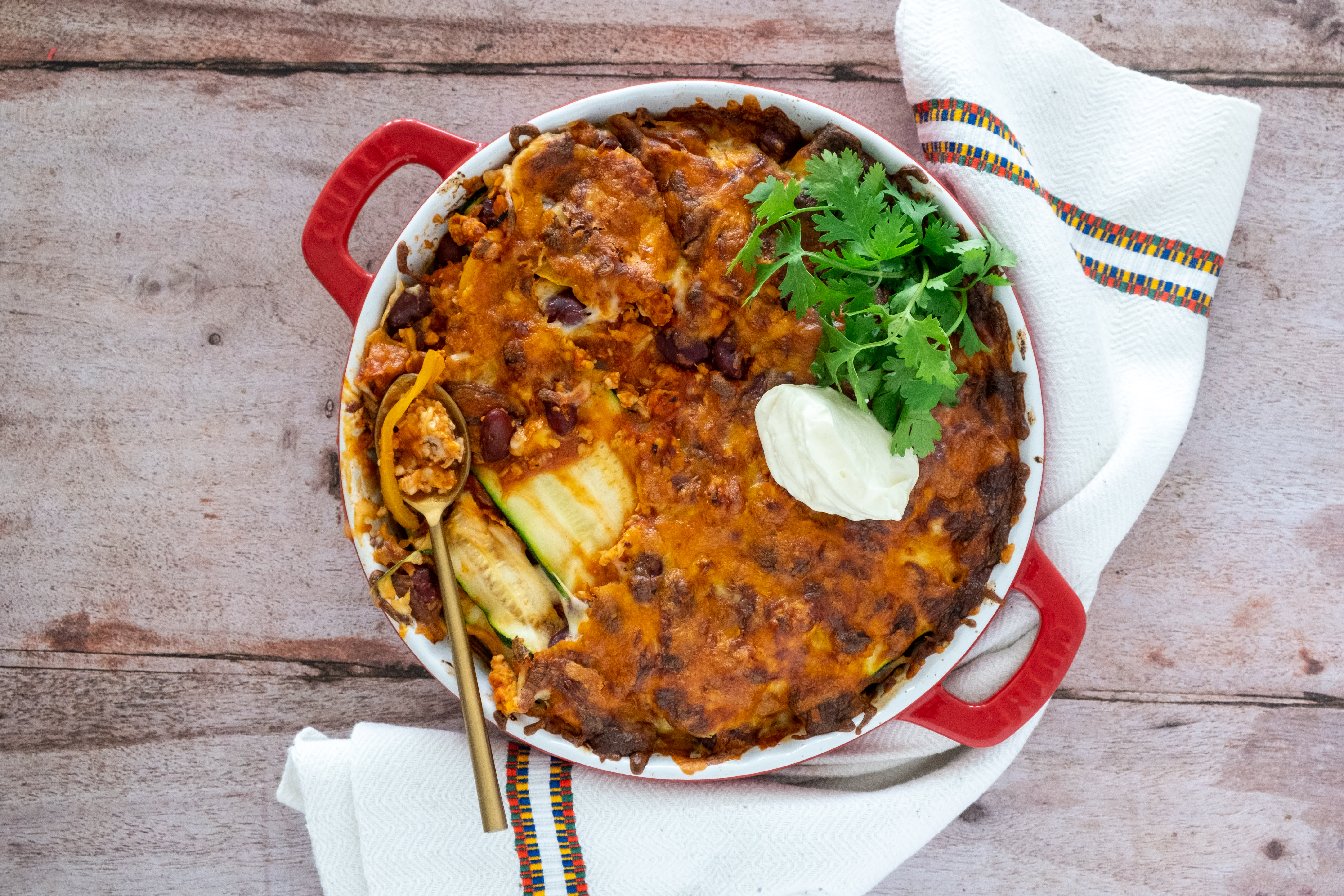 Mexican Chicken and Zucchini Low Carb 'Lasagna'