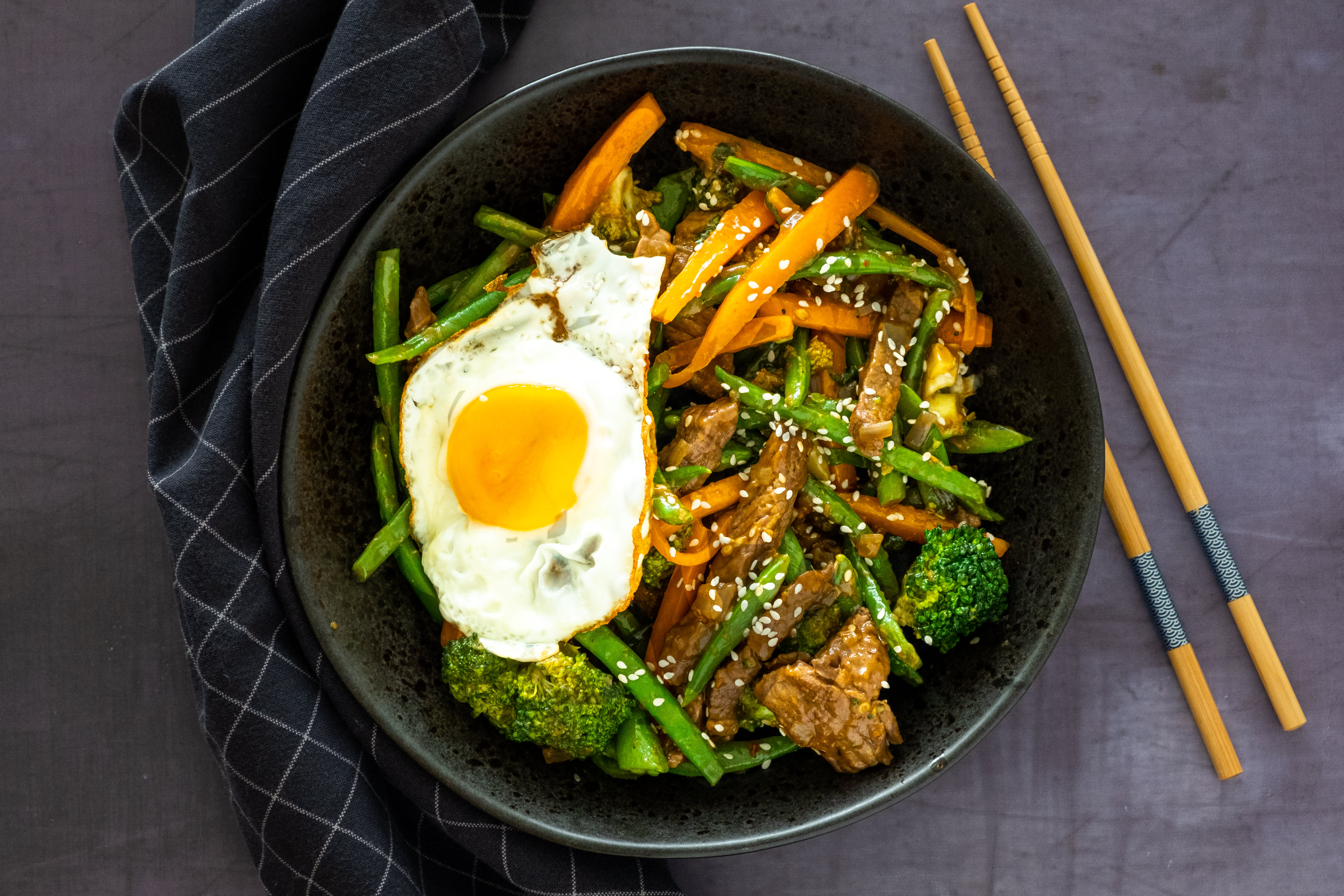 Korean Beef and Vegetable Stir-fry with Fried Eggs