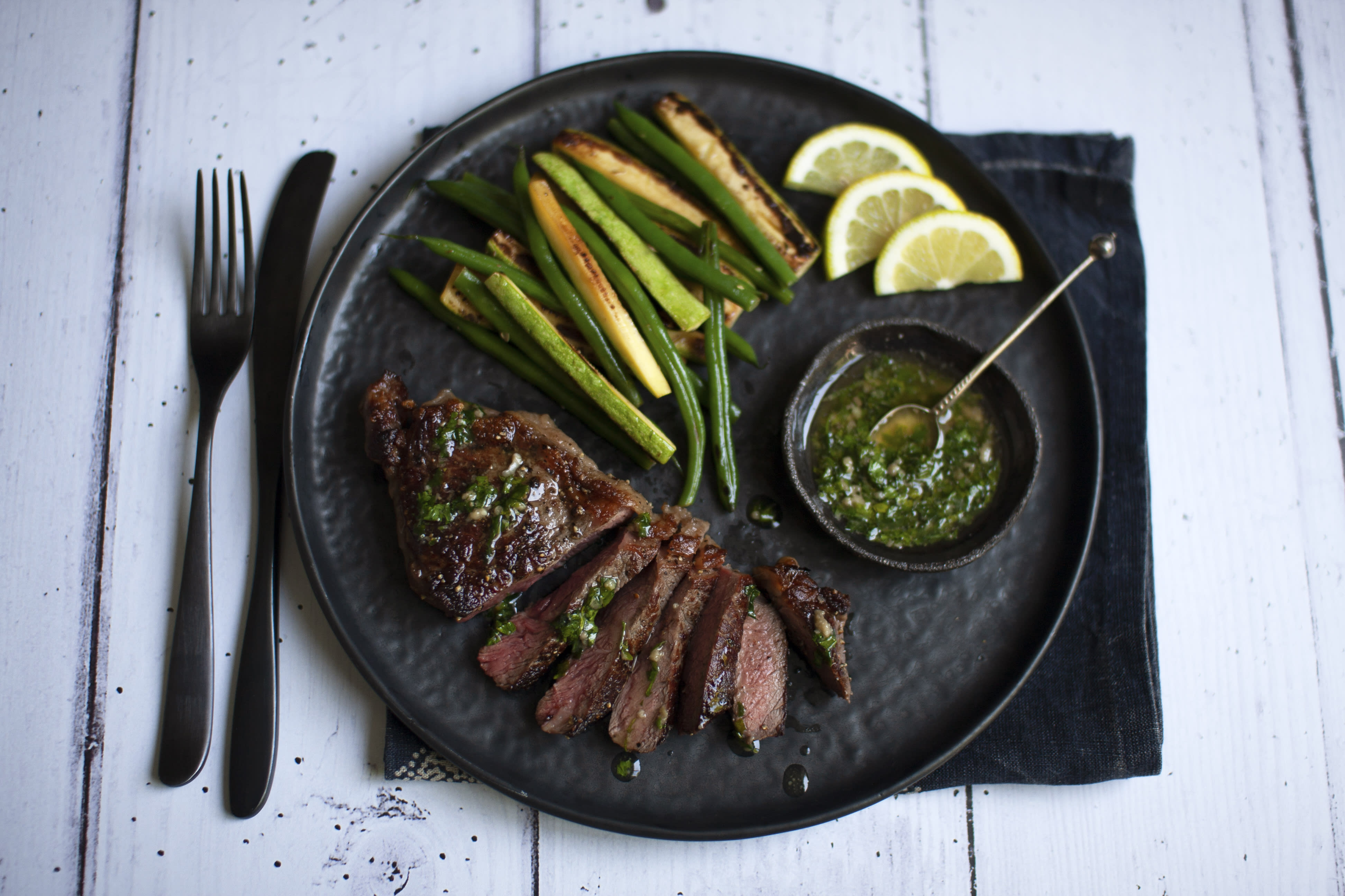 Sirloin Steak with Anchovy Butter and Greens