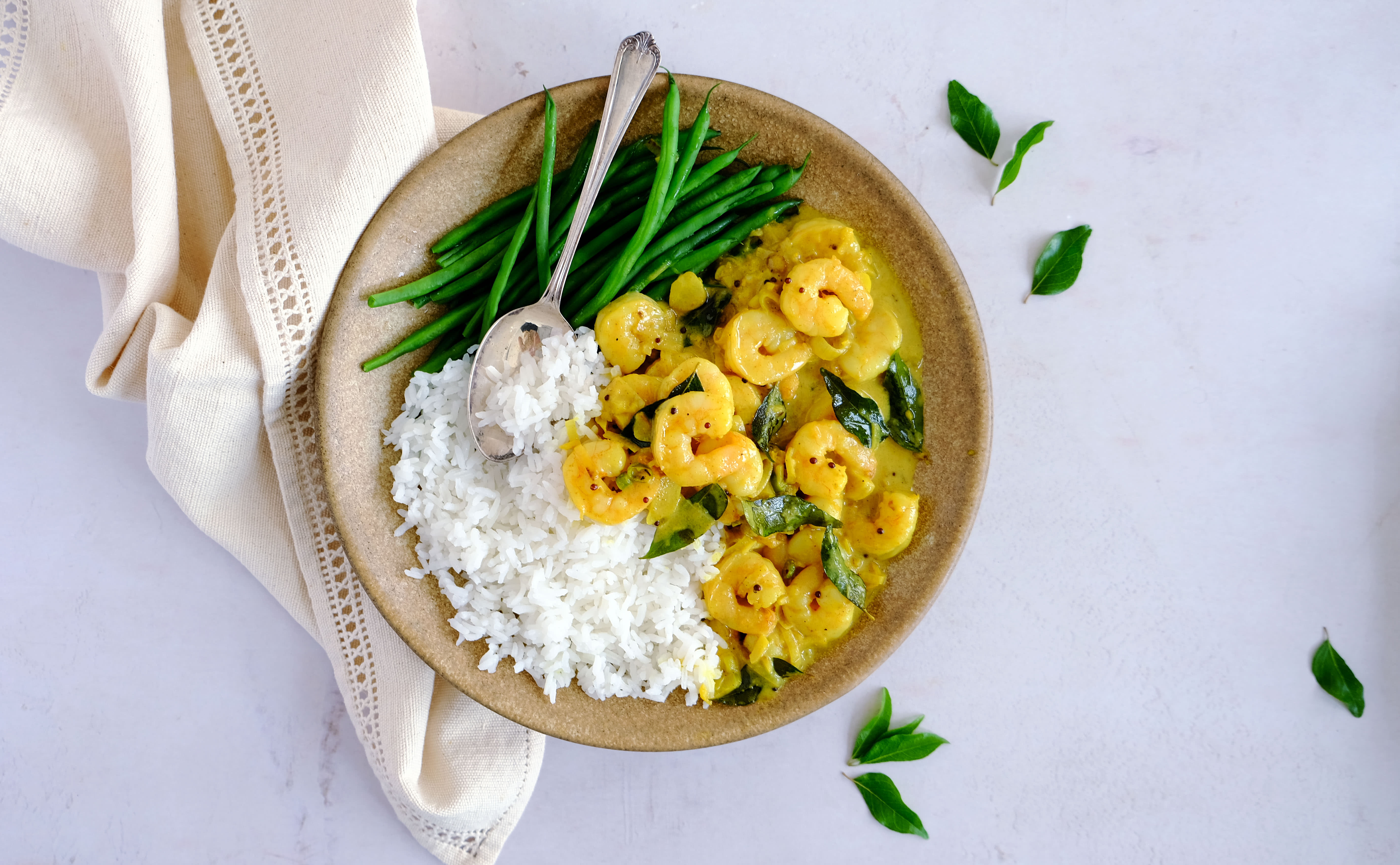 Keralan Prawn Curry with Rice and Green Beans