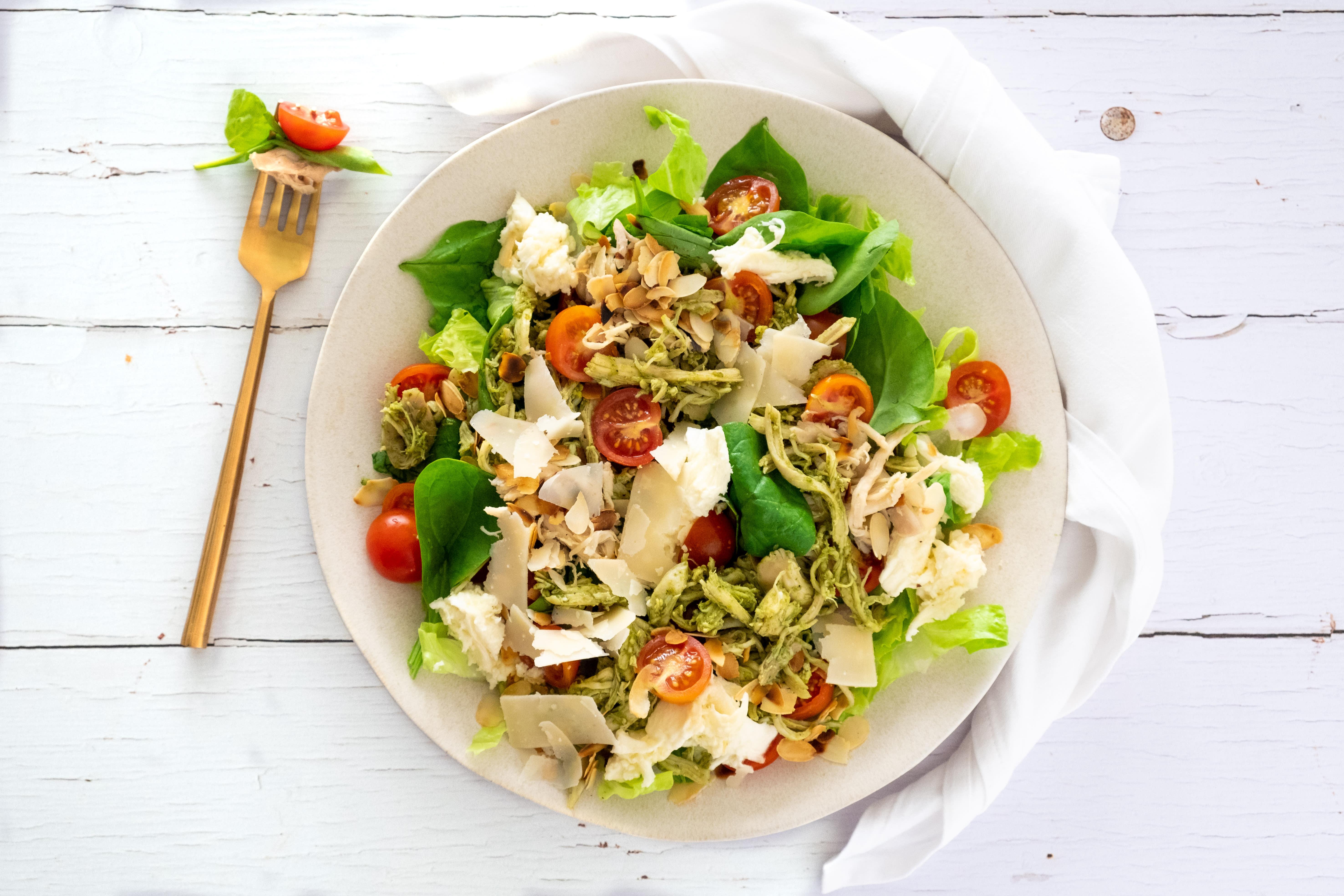 Speedy Pesto Pulled Chicken Salad with Fresh Mozzarella