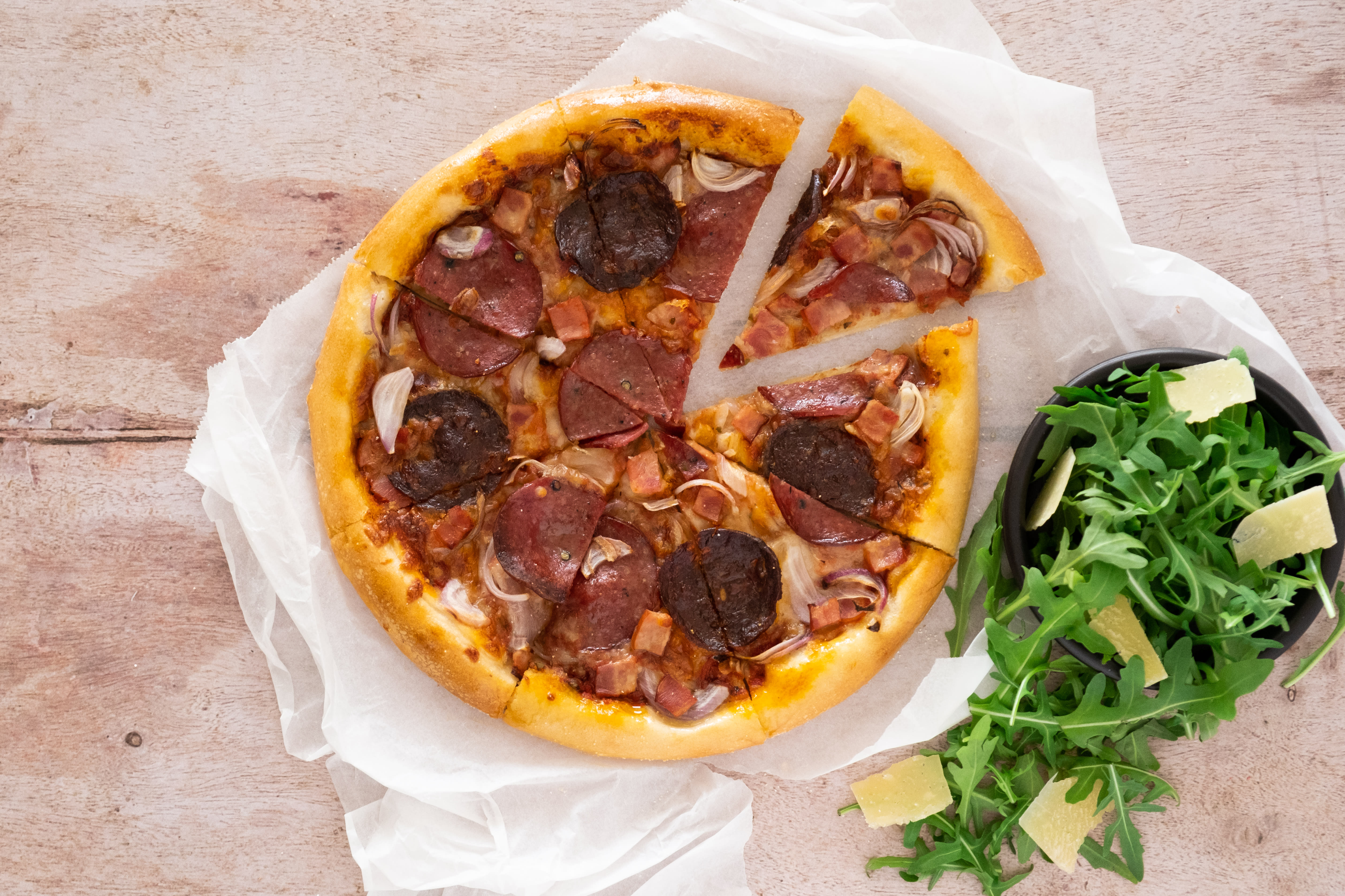 Meat Lovers Pizza with Rocket Salad