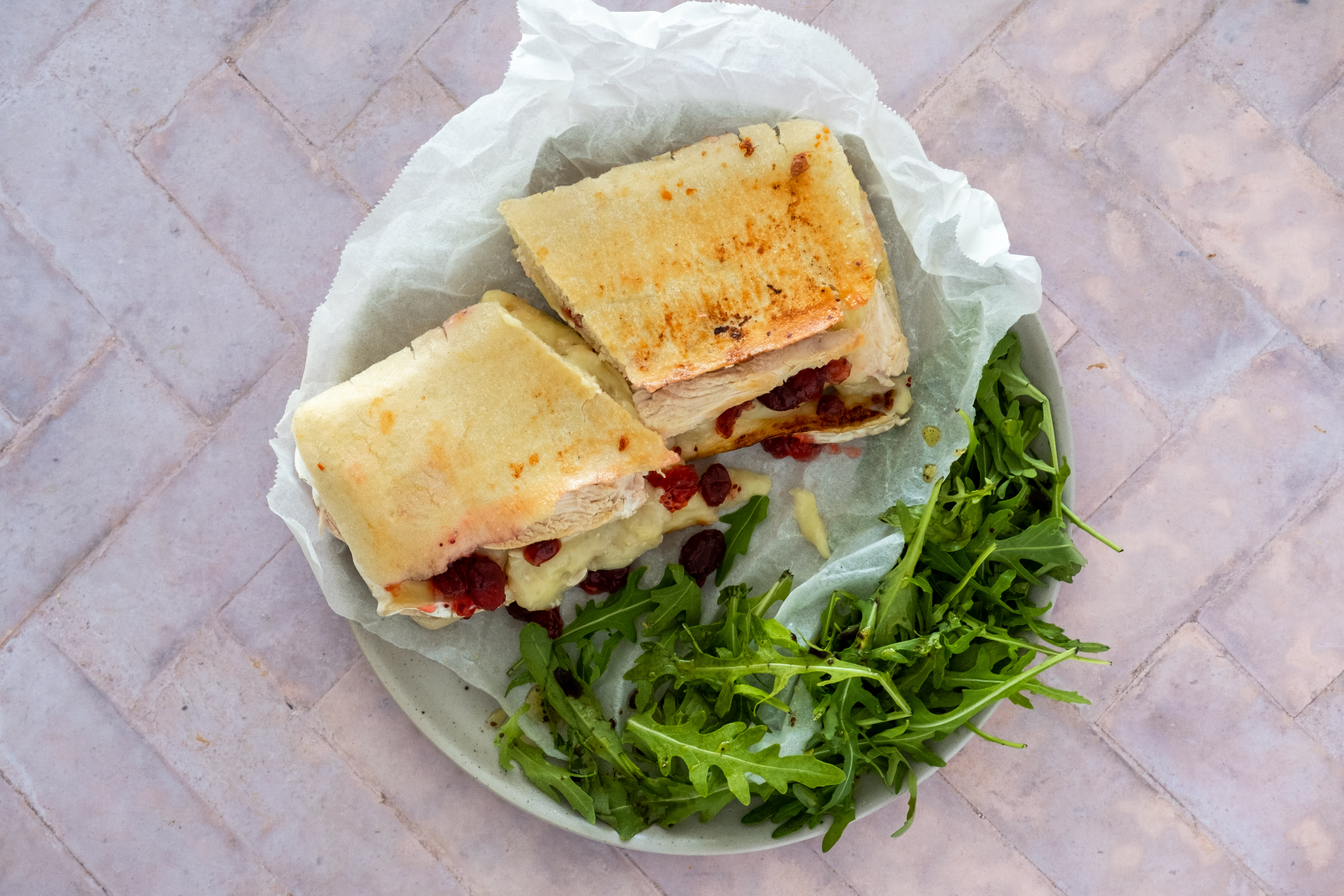Chicken, Brie and Cranberry Panini with Rocket Salad
