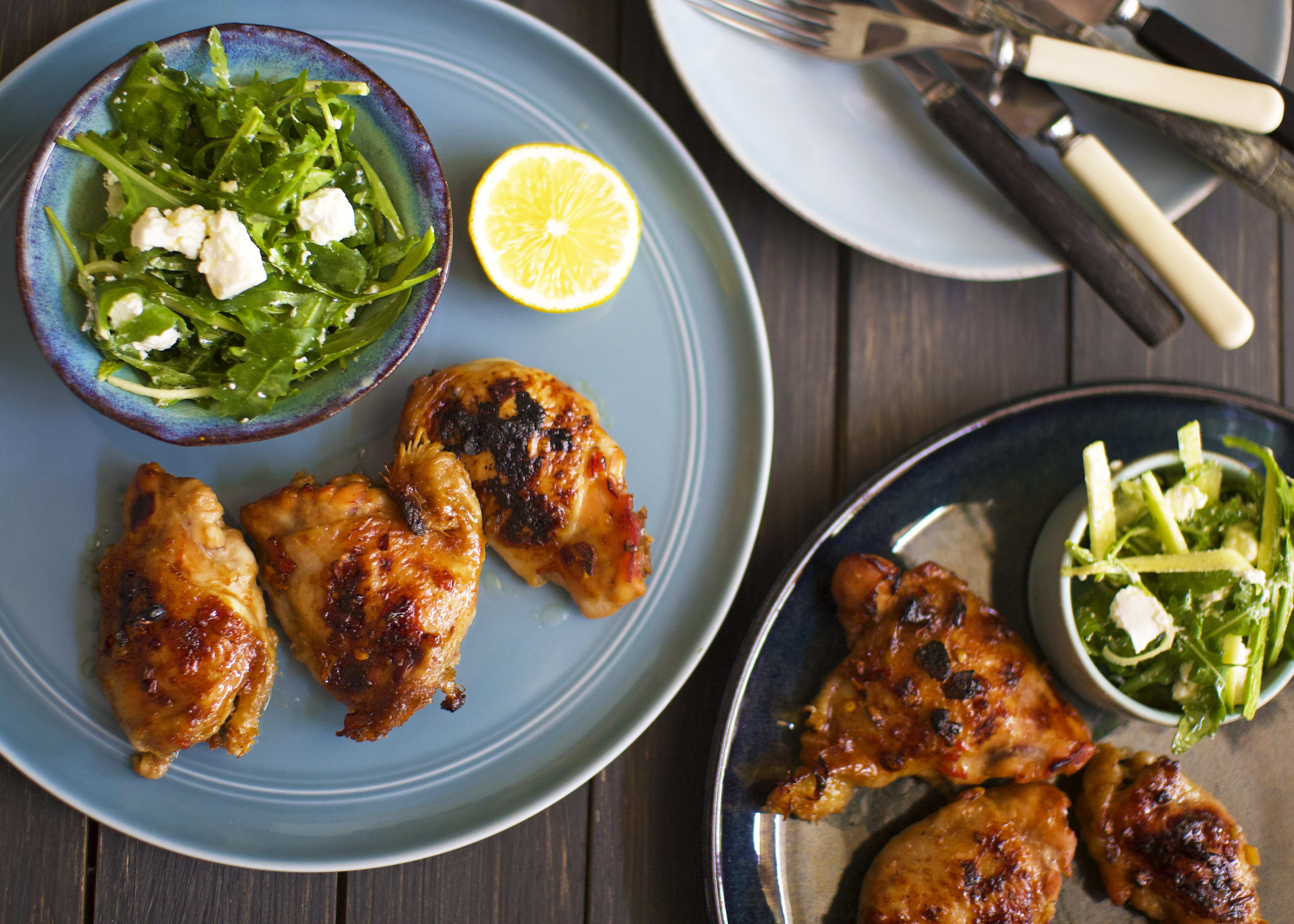 Sticky BBQ Chicken and Courgette Salad