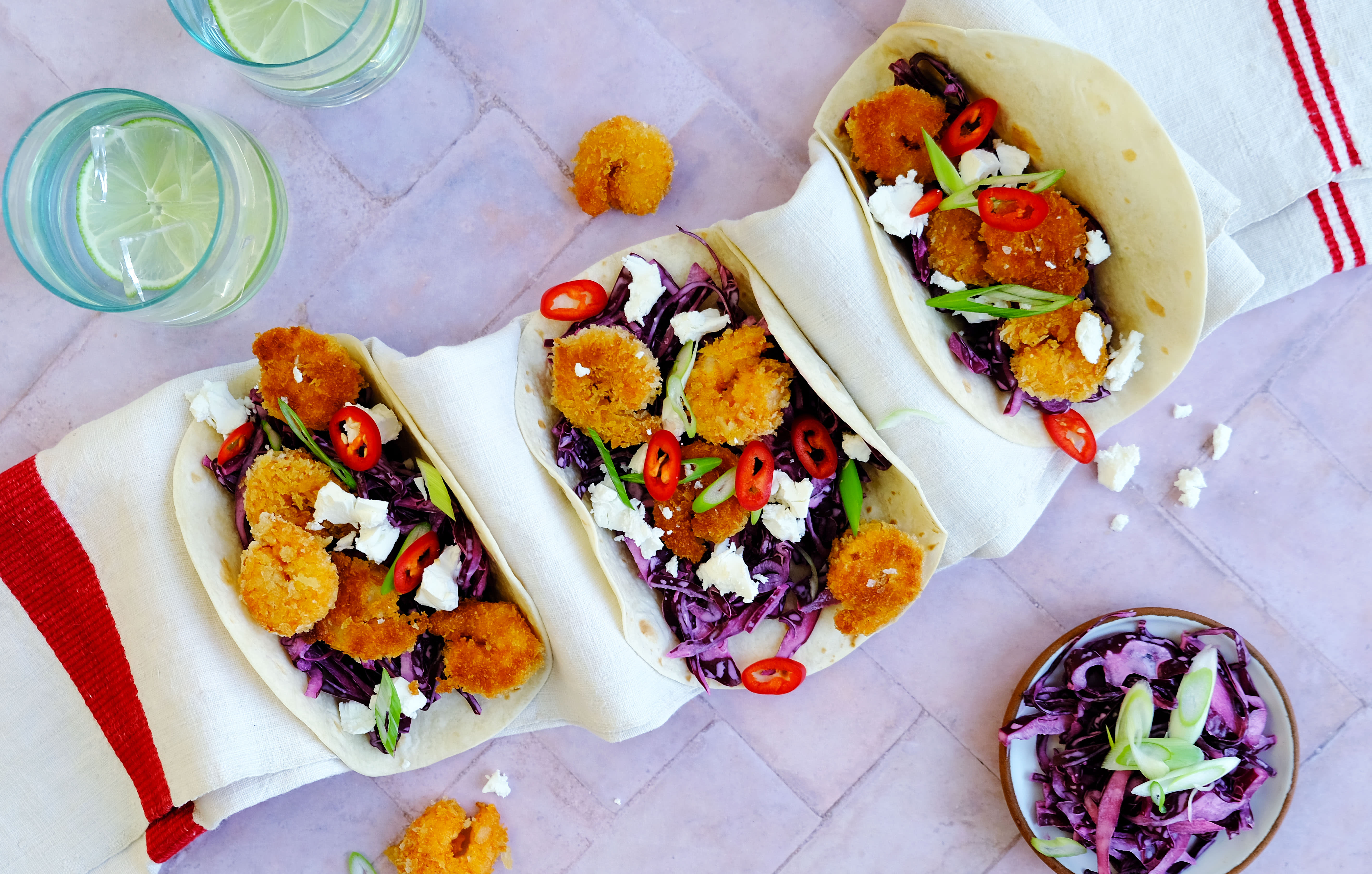 Crispy Prawns and Slaw Tacos with Feta