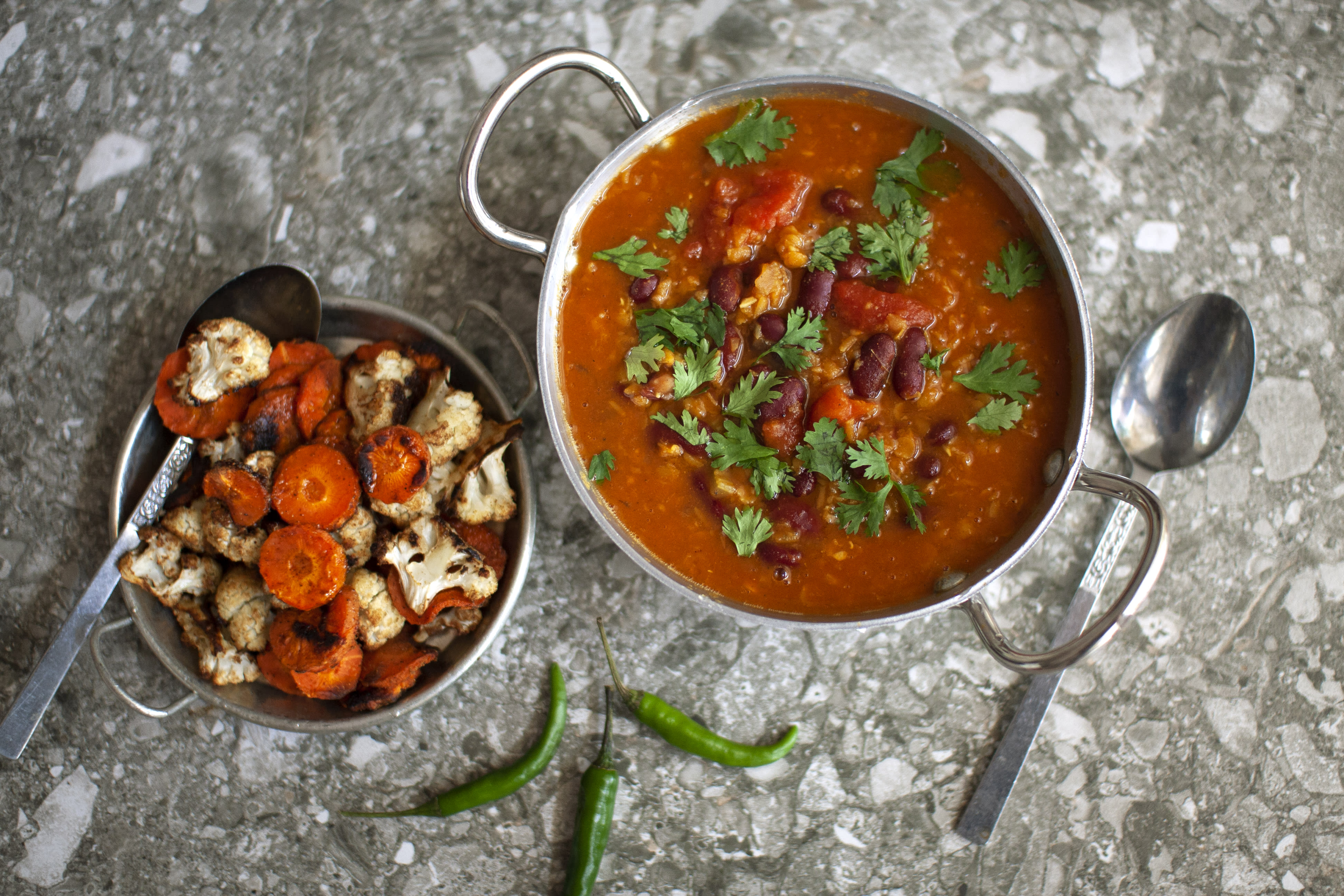 Bean and Lentil Chilli with Spicy Roasted Vegetables