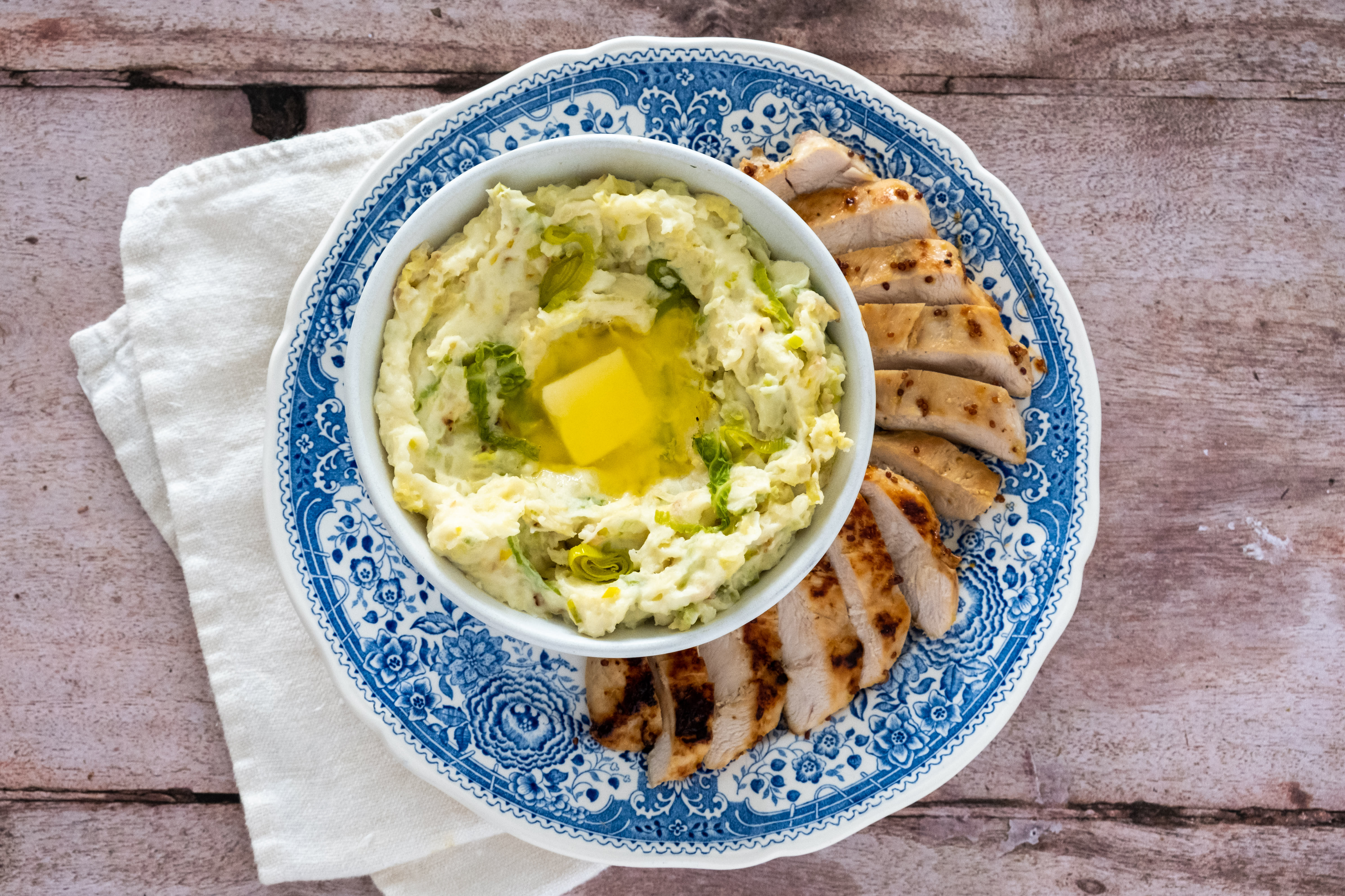Irish Honey and Mustard Chicken with Colcannon Mashed Potato