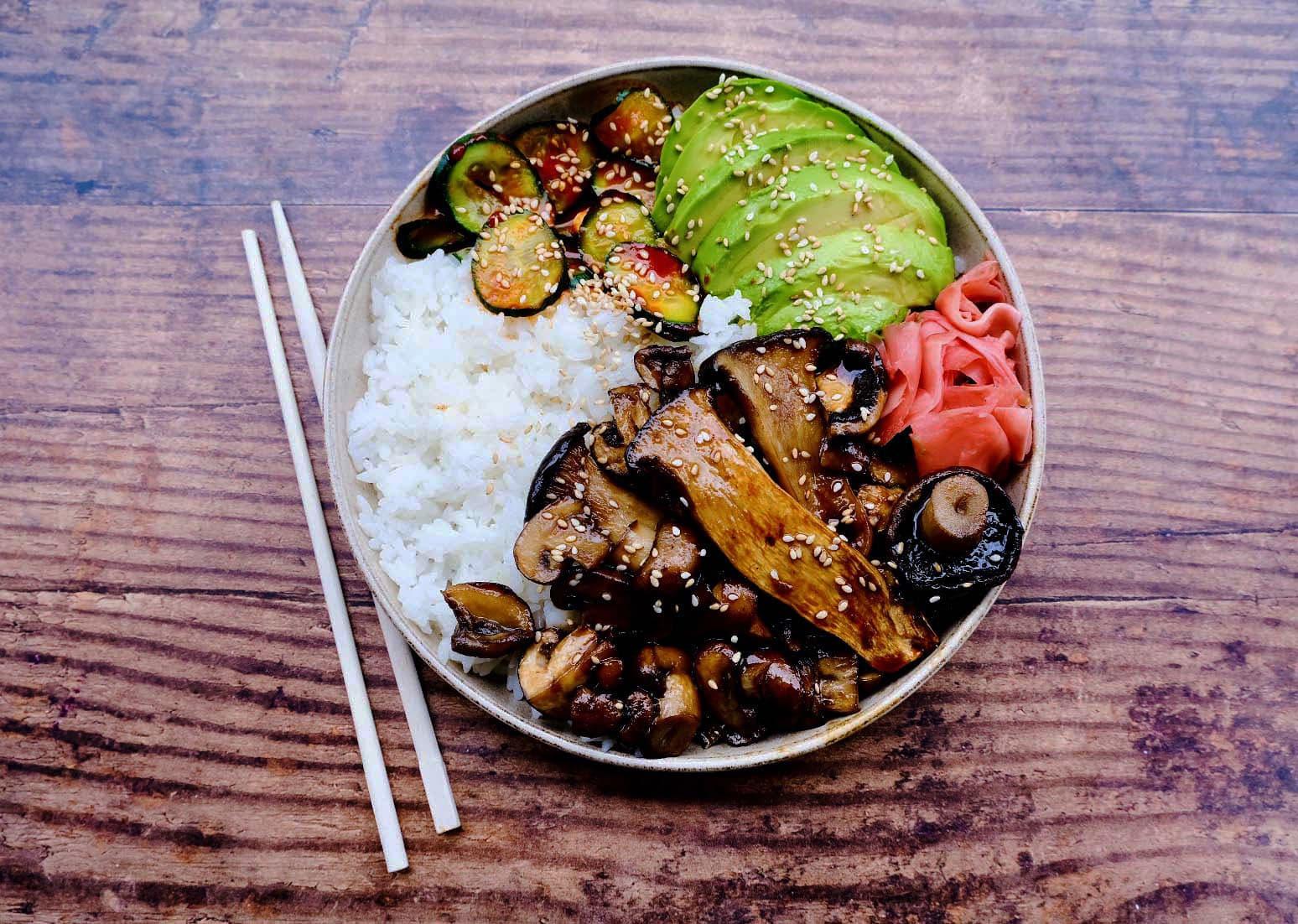 Mushroom Donburi Bowl with Spicy Cucumbers