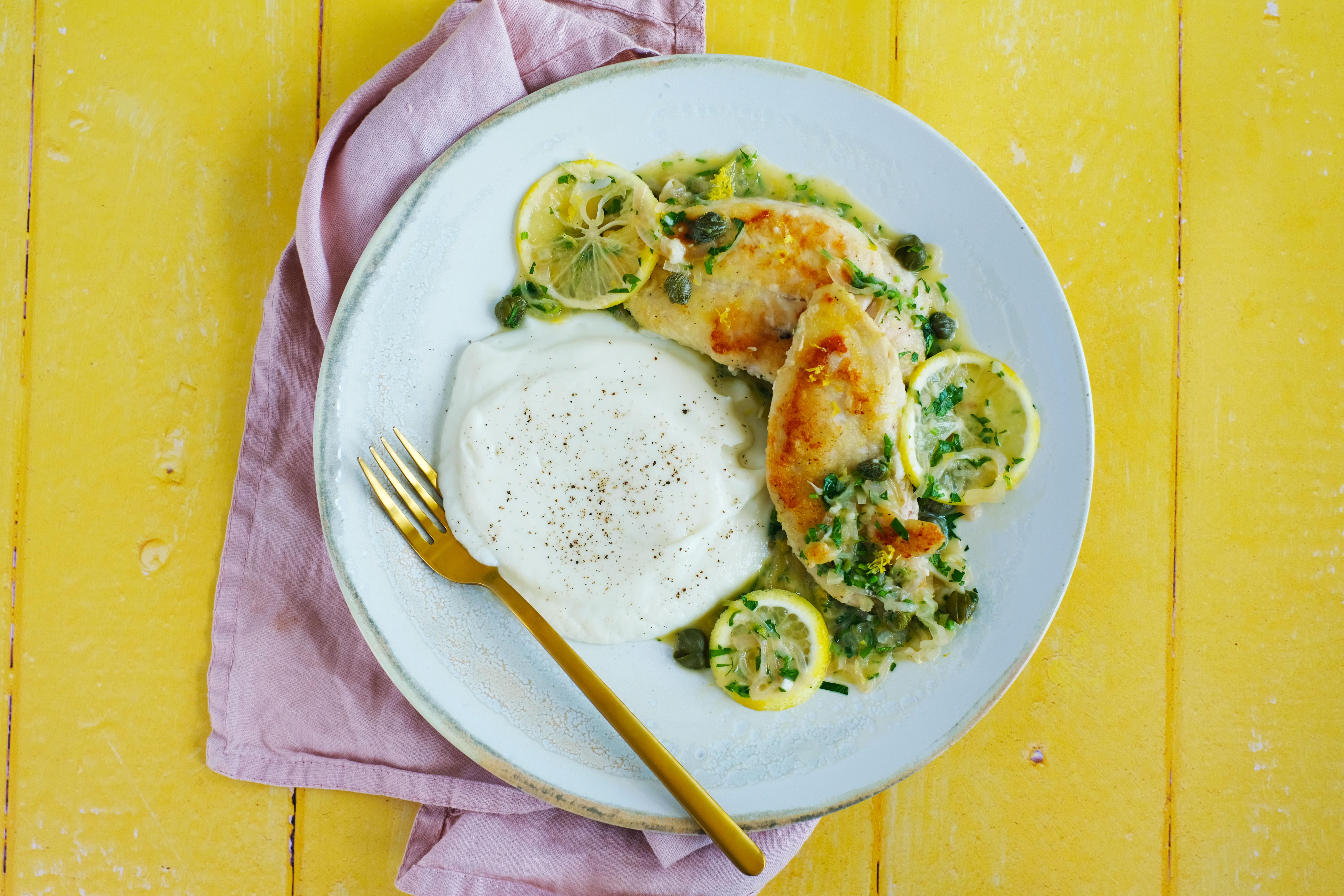Chicken Piccata with Cauliflower Mash