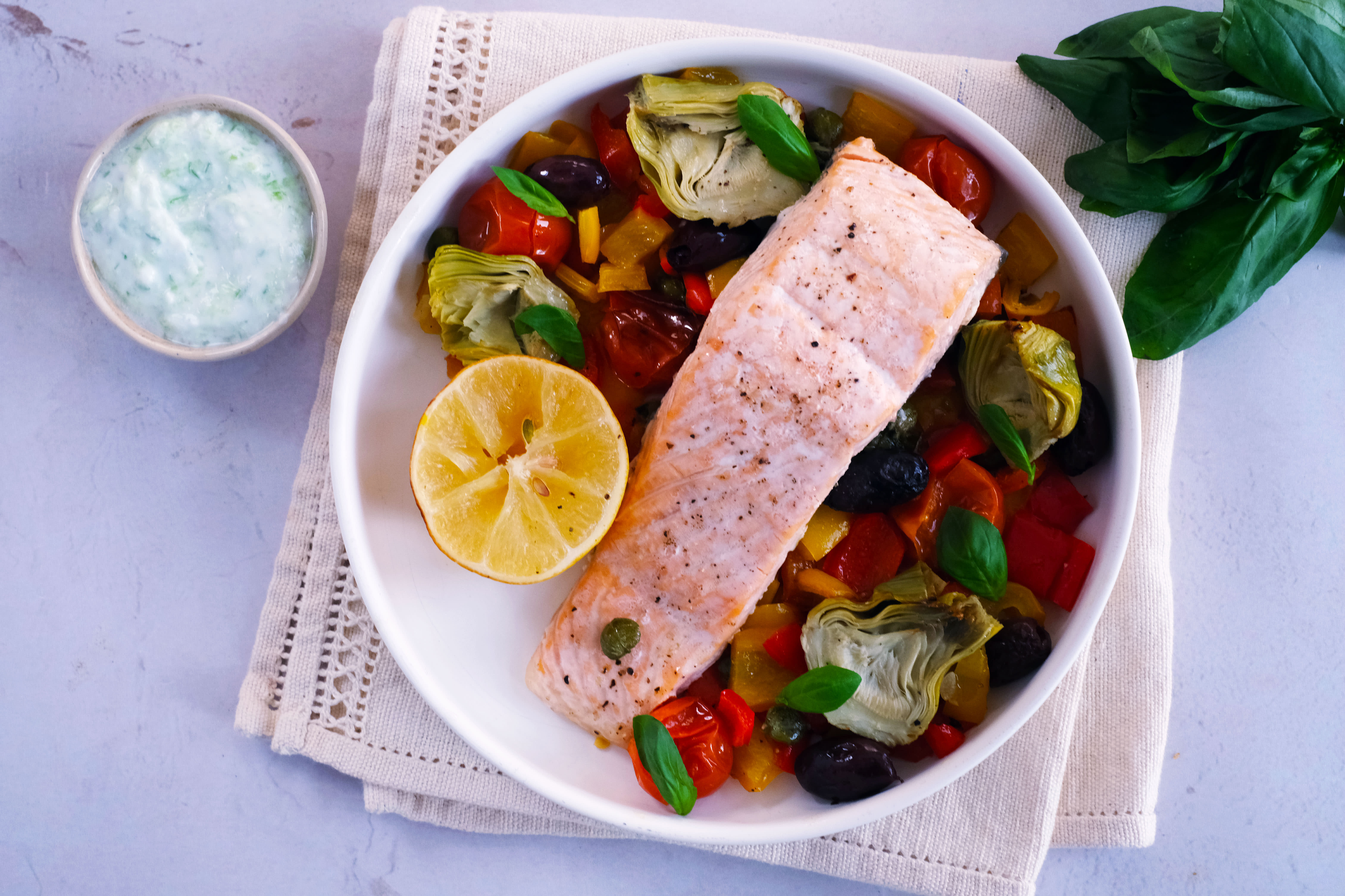 Baked Salmon with Lemon Artichokes, Tomatoes and Olives