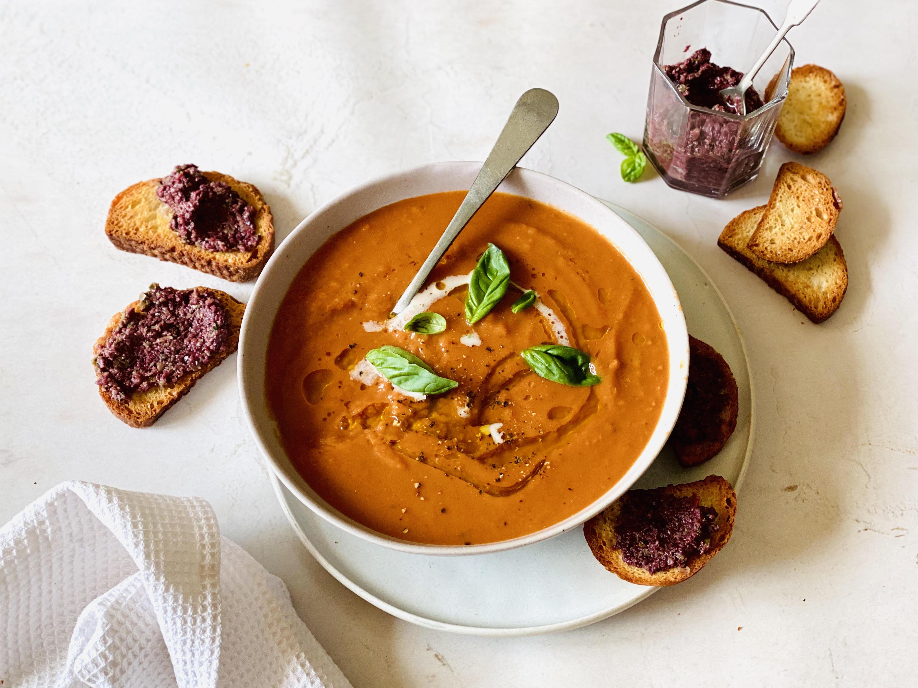 Creamy Tomato Soup with Tapenade Crostini