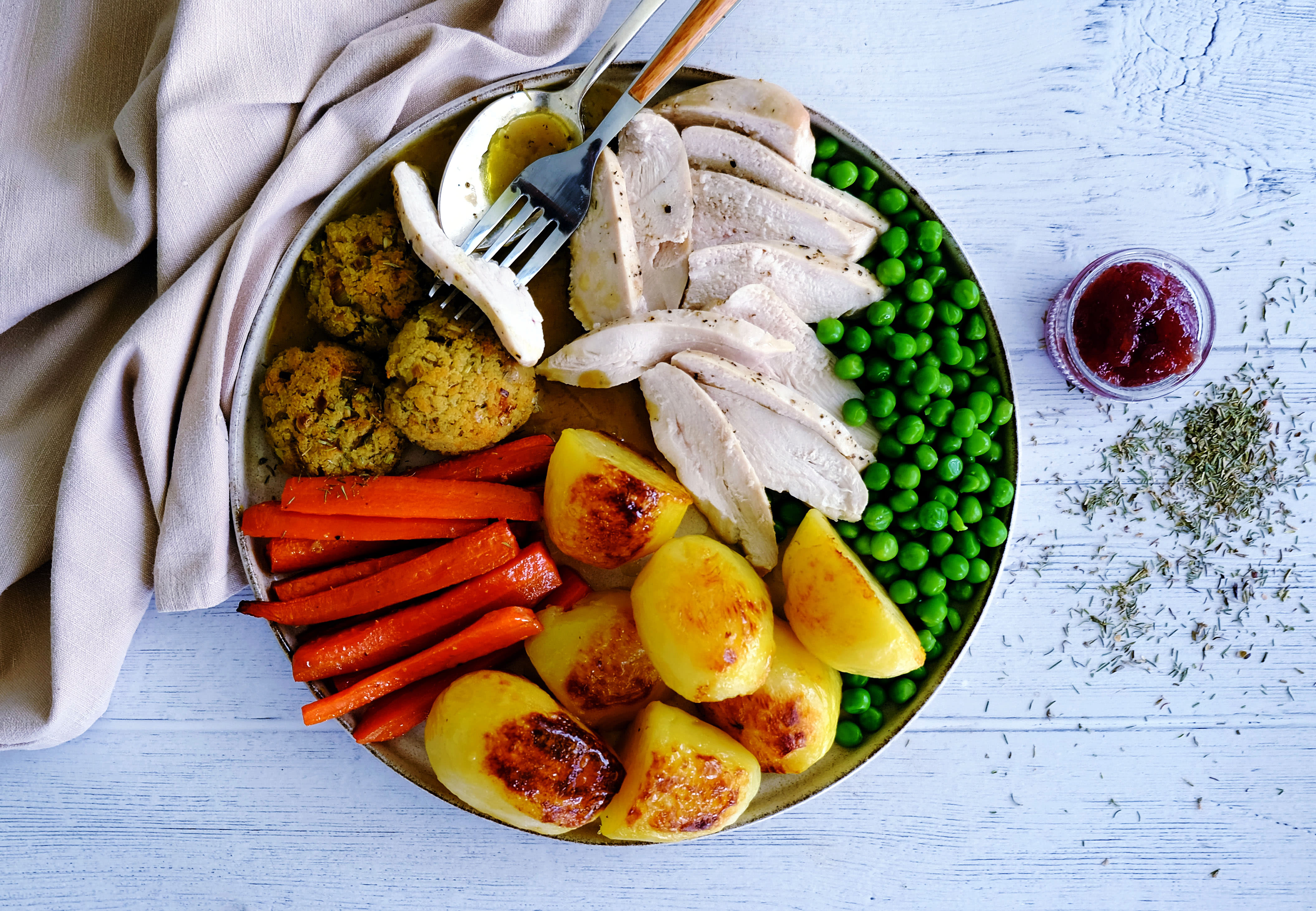 Chicken Roast with Stuffing and Gravy