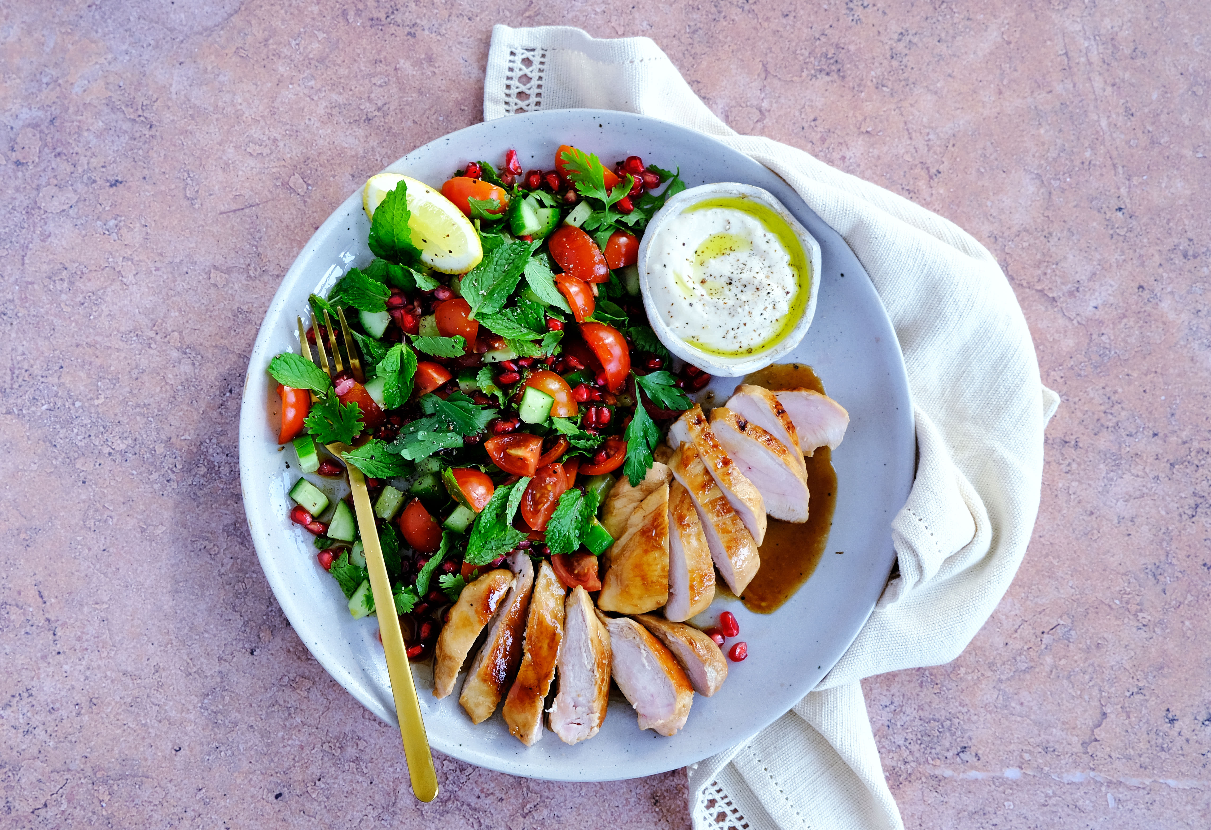 Chicken and Herb Salad with Tahini Sauce