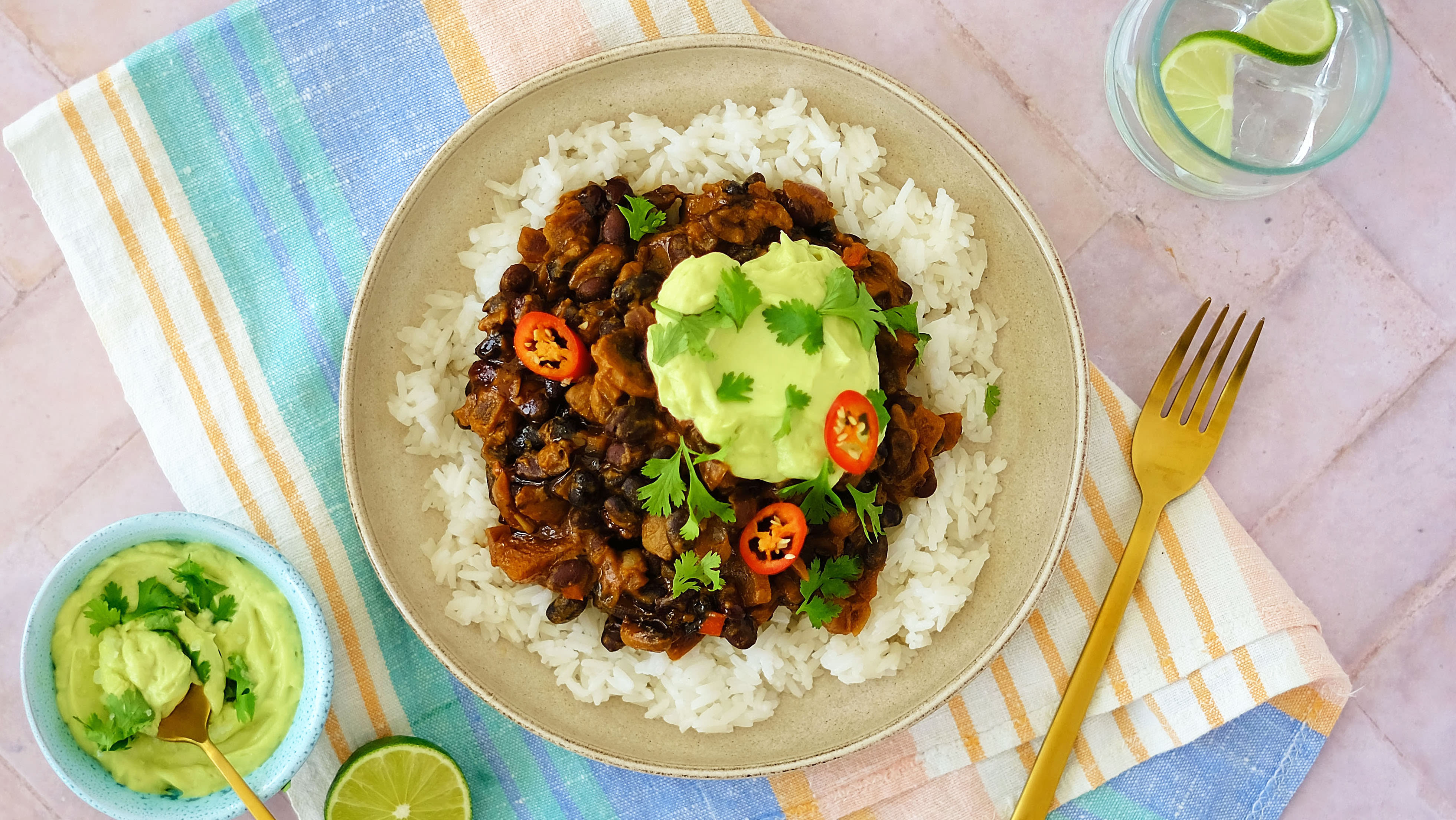 Black Bean and Mushroom Chilli with Jasmine Rice