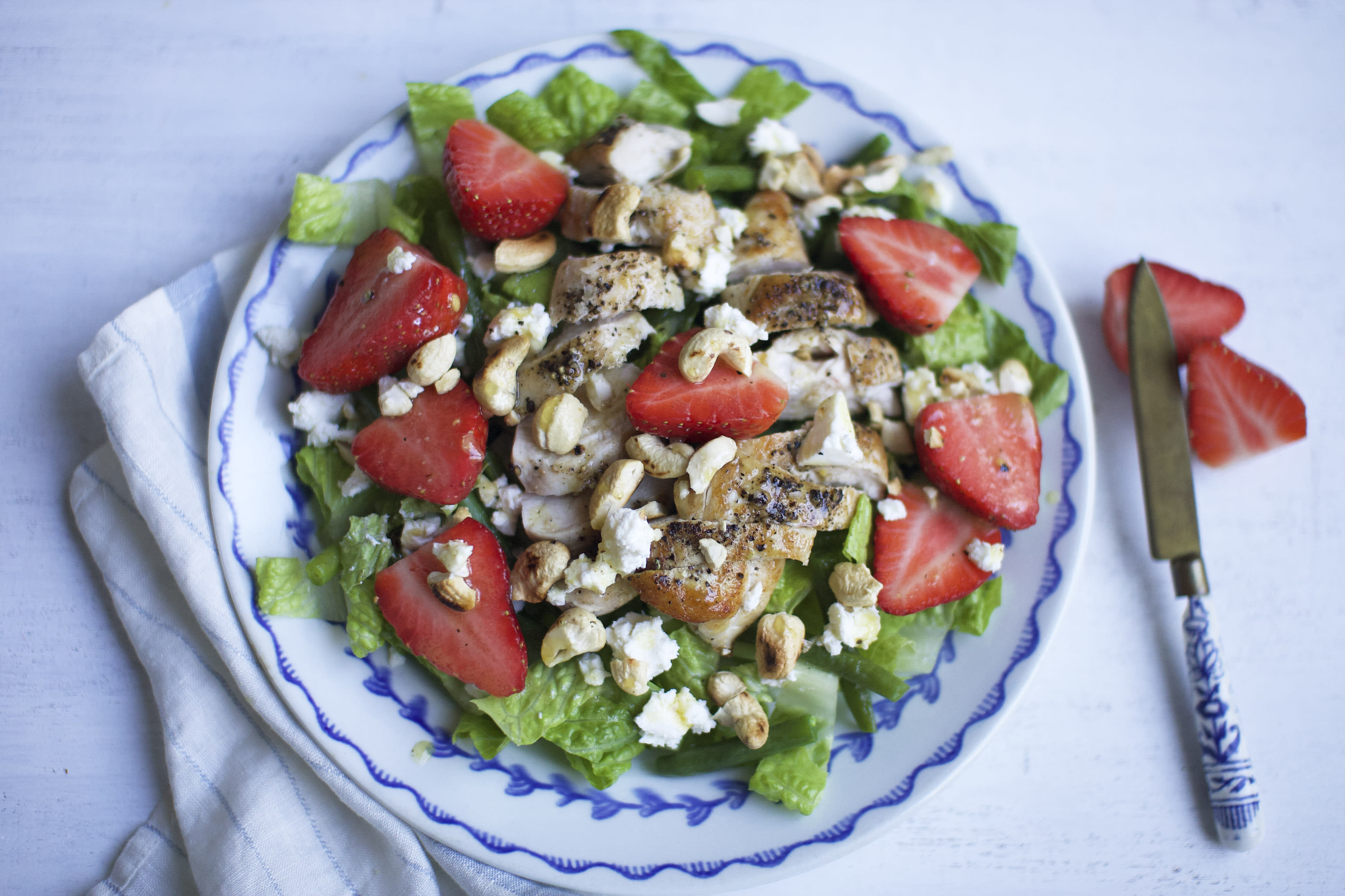 Chicken and Strawberry Salad with Green beans and Feta Cheese