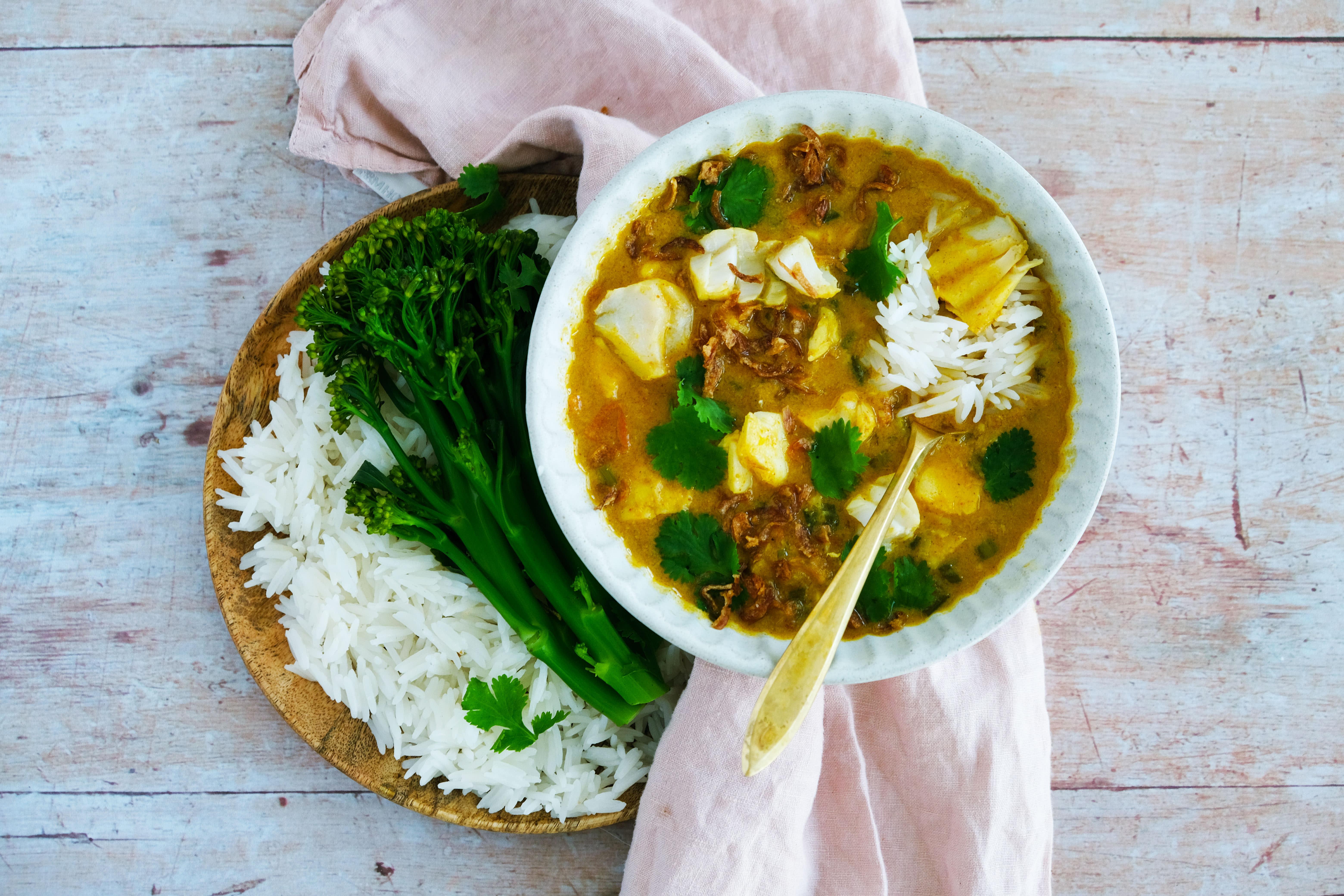 Goan Fish Curry with Basmati Rice and Tenderstem Broccoli