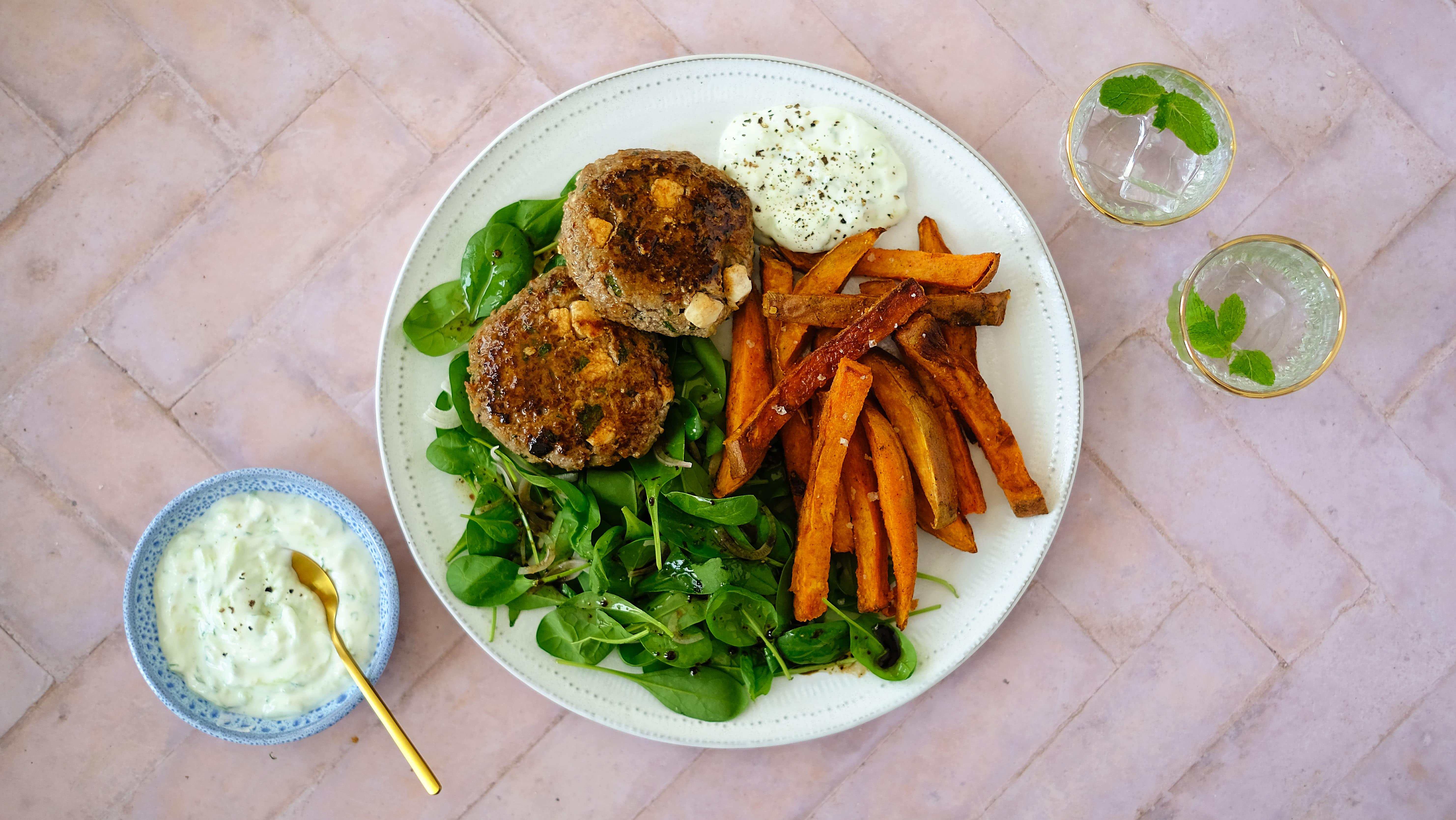 Minted Lamb and Feta Burgers with Sweet Potato Fries, Salad and Tzatziki