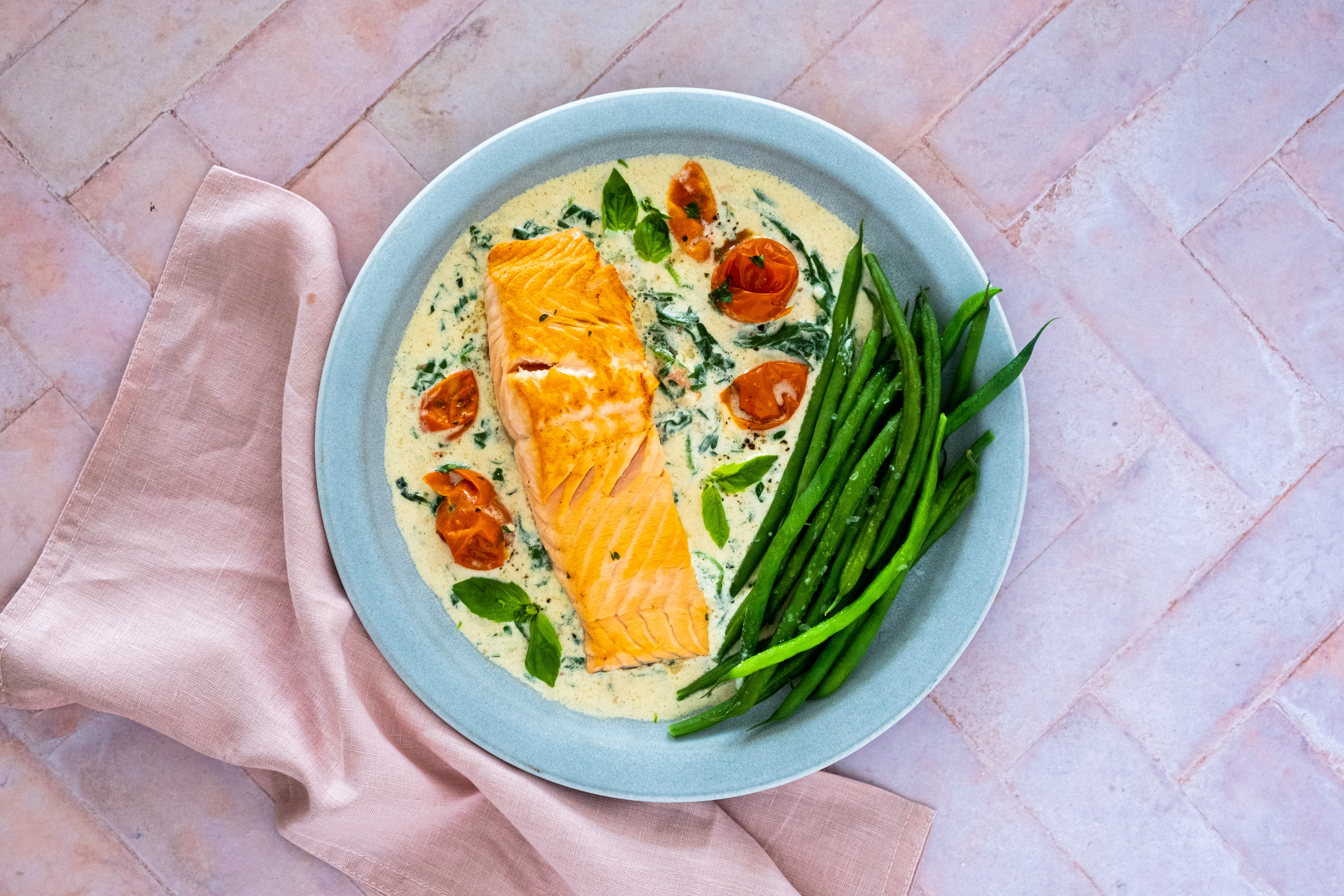 Creamy Tuscan Salmon with Green Beans