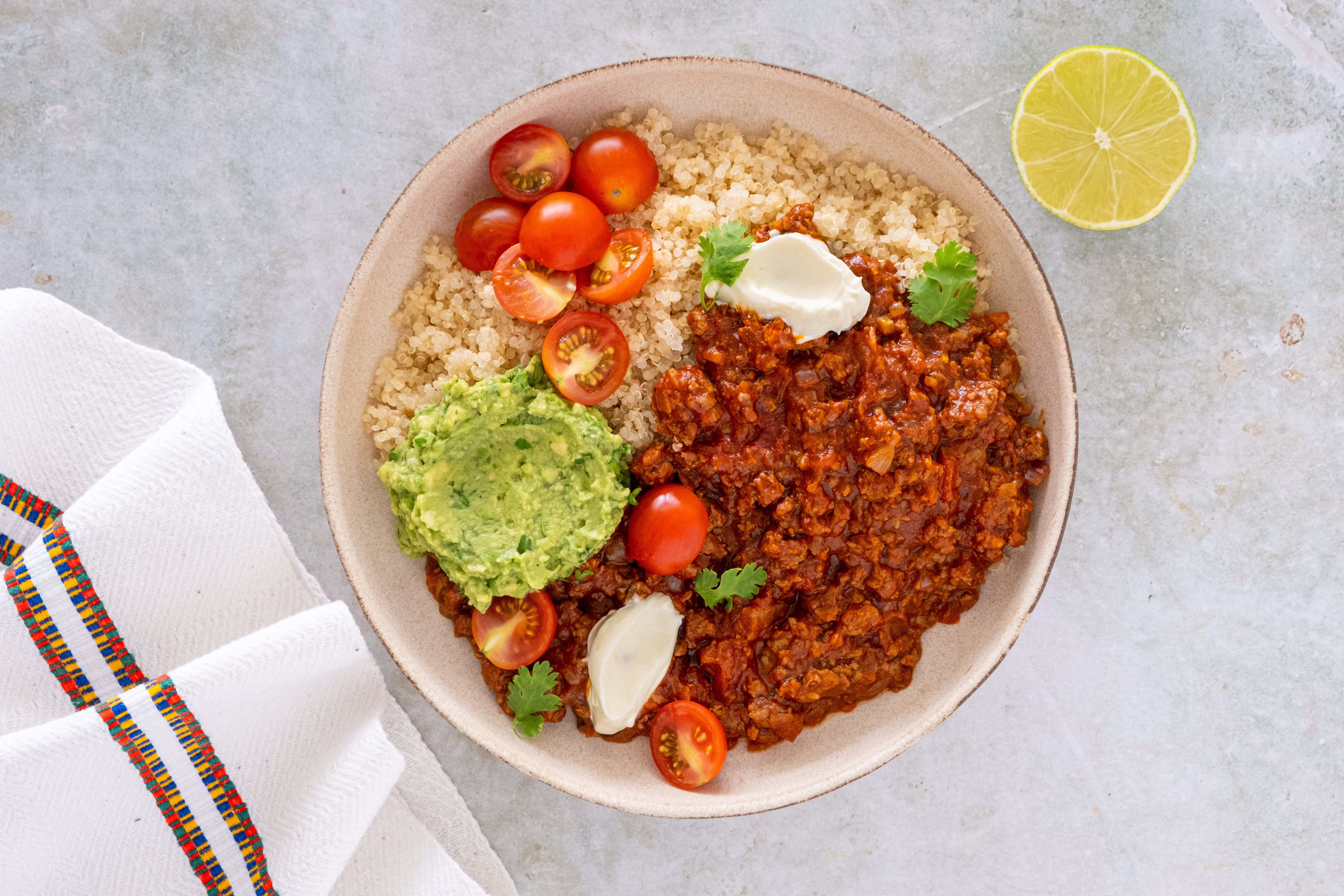 Chipotle Beef and Guacamole Quinoa Bowls